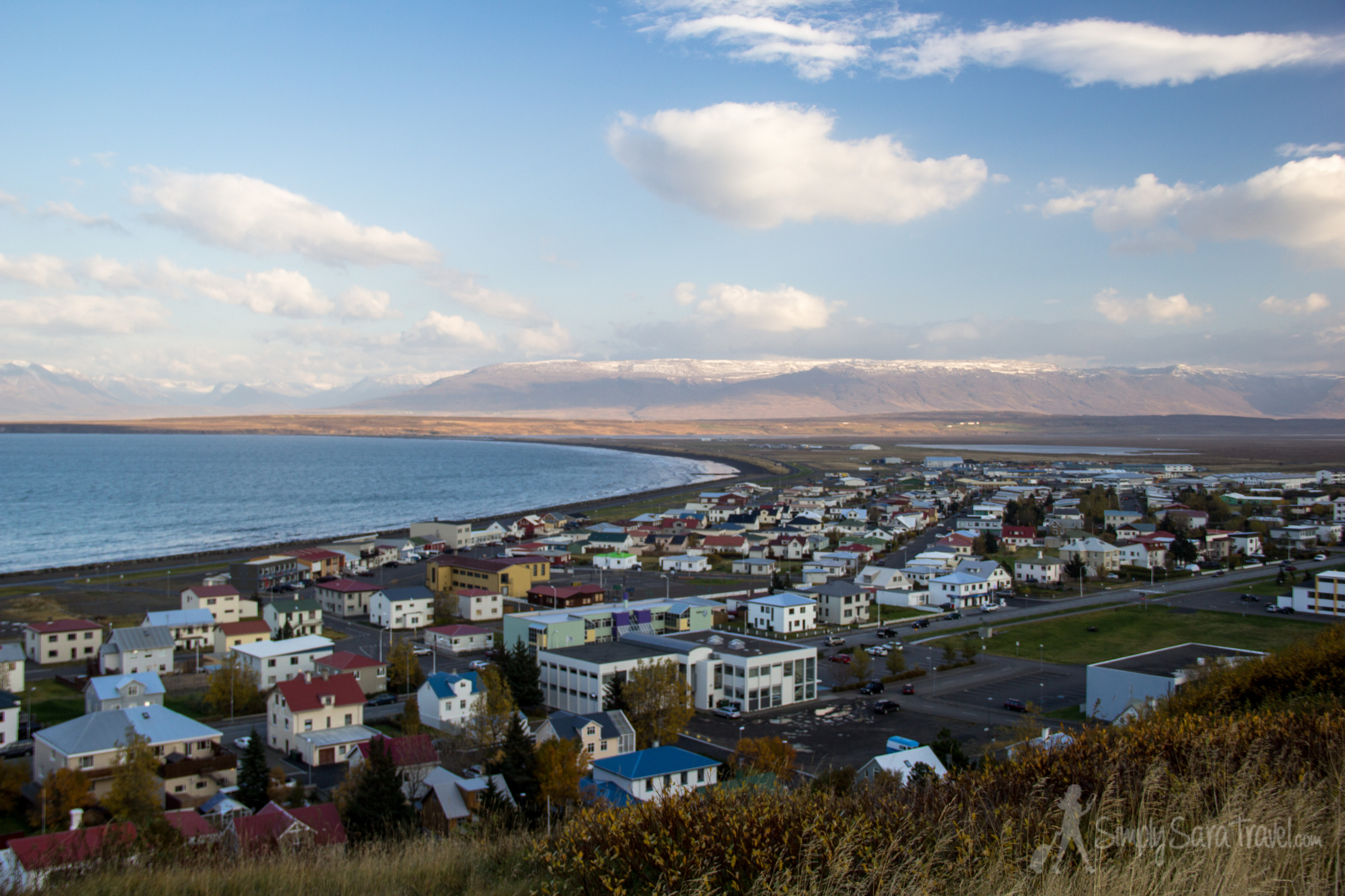 The view from the top of the hill of Sauðárkrókur