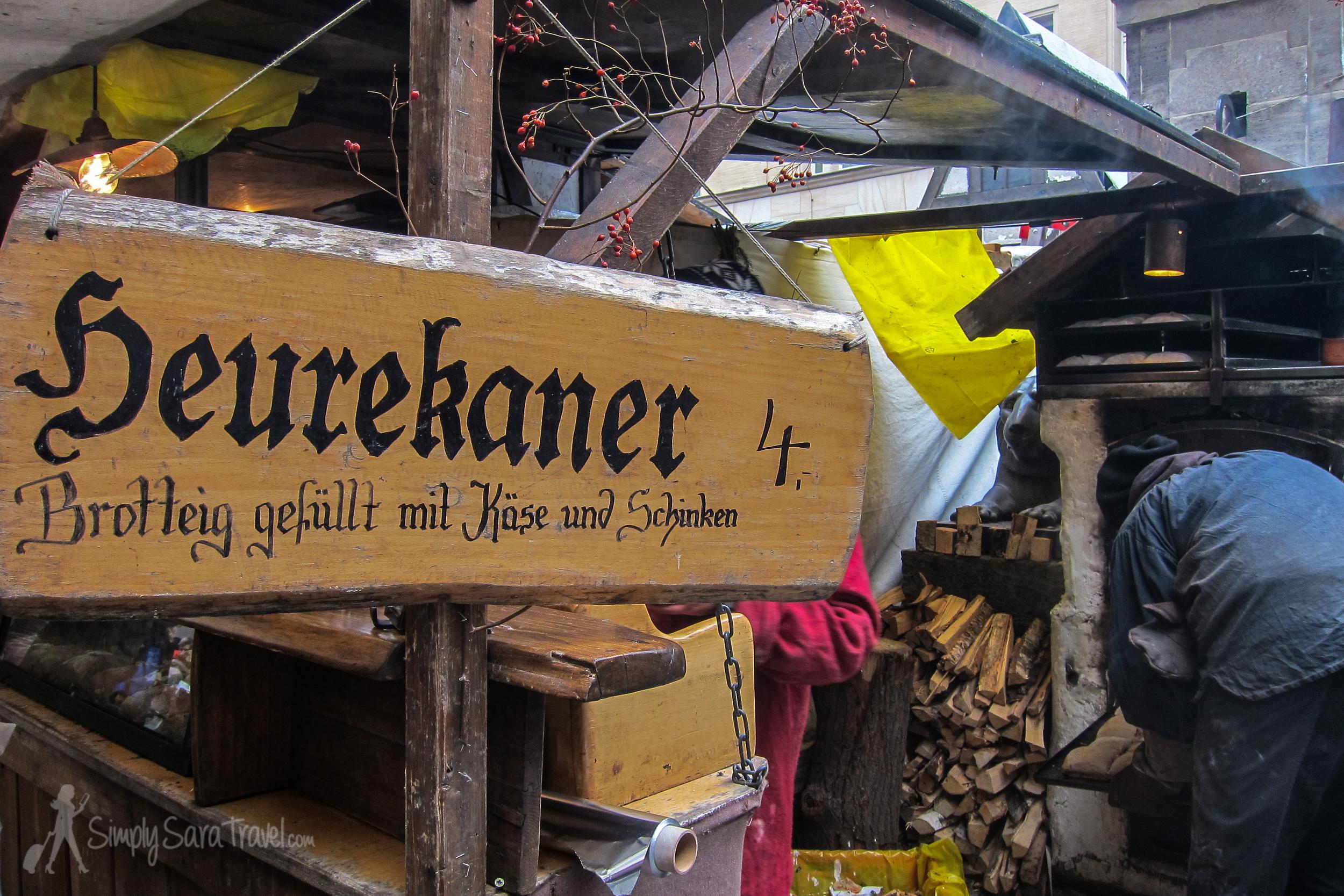 Heurekaner stand at Leipzig, Germany Christmas market