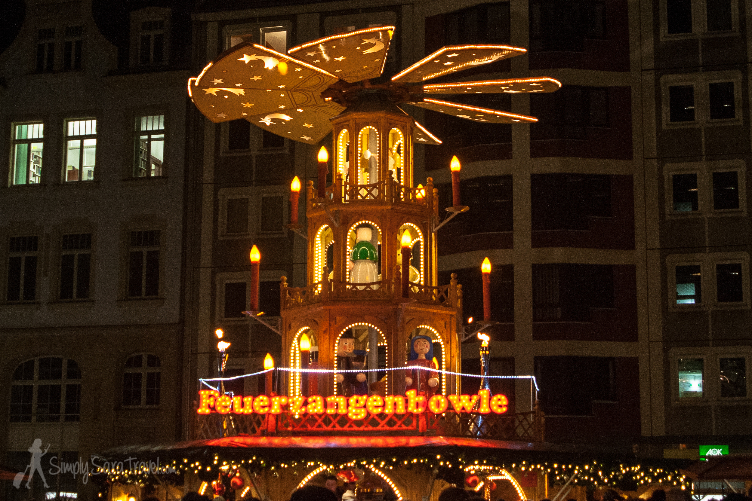 Christmas pyramid at night at Christmas market in Leipzig, Germany