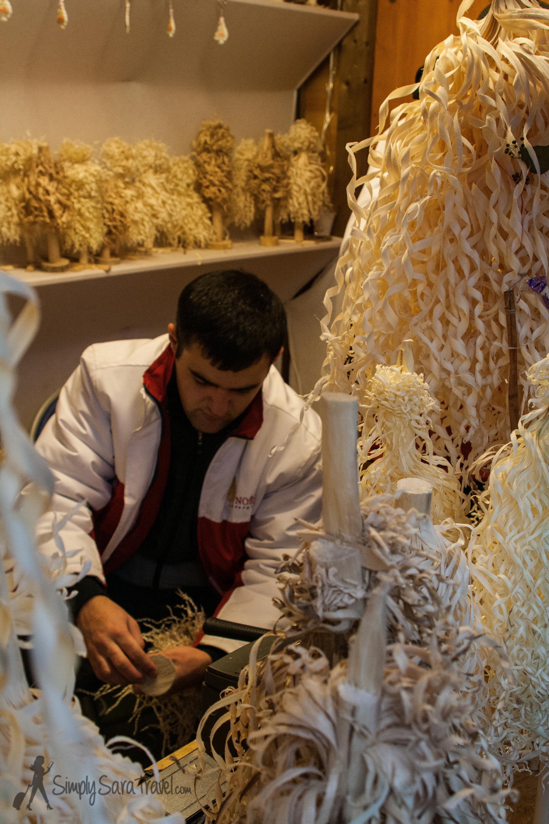 Craftsman at Christmas market in Strasbourg, France