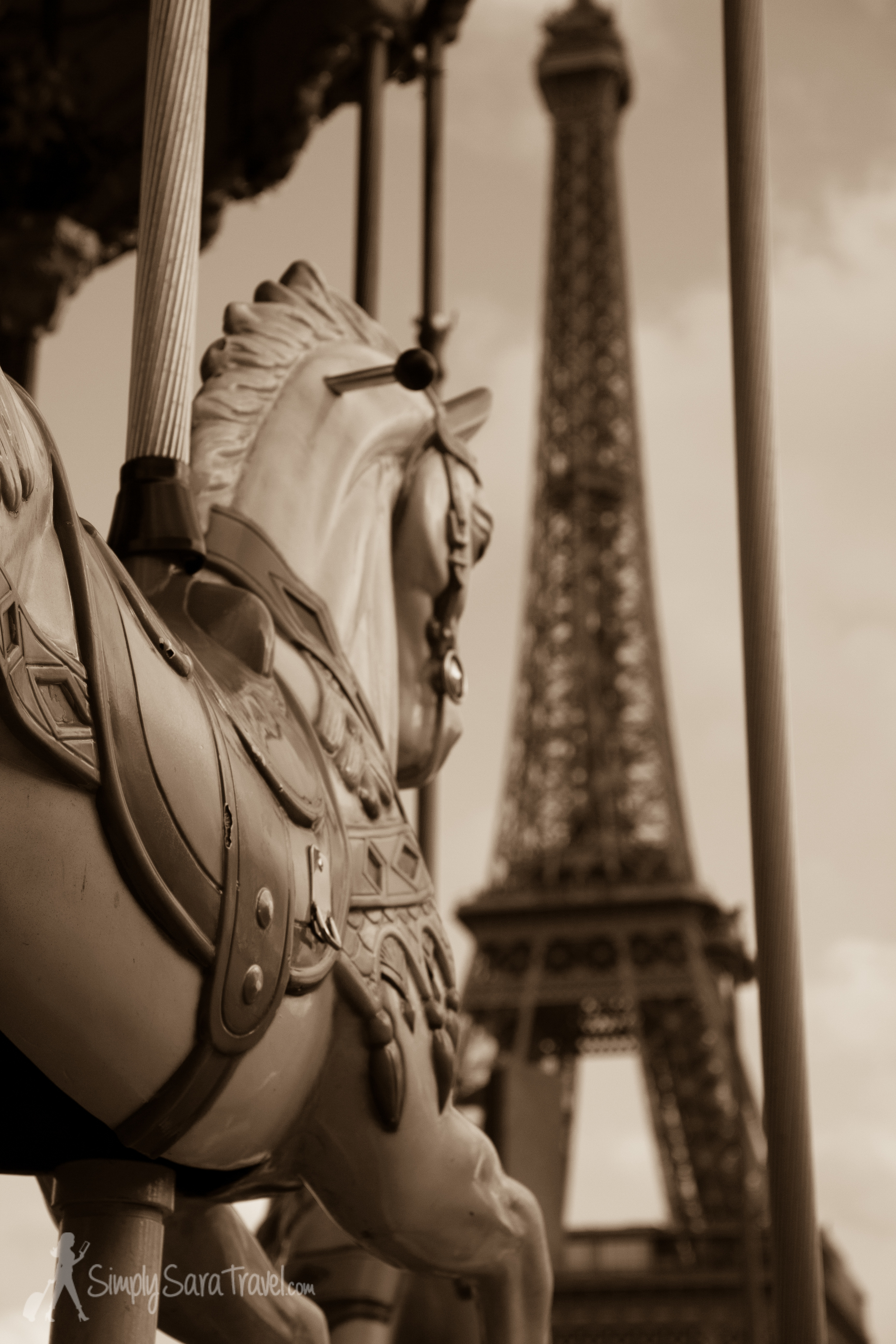 Carousel with Eiffel Tower in Paris, France