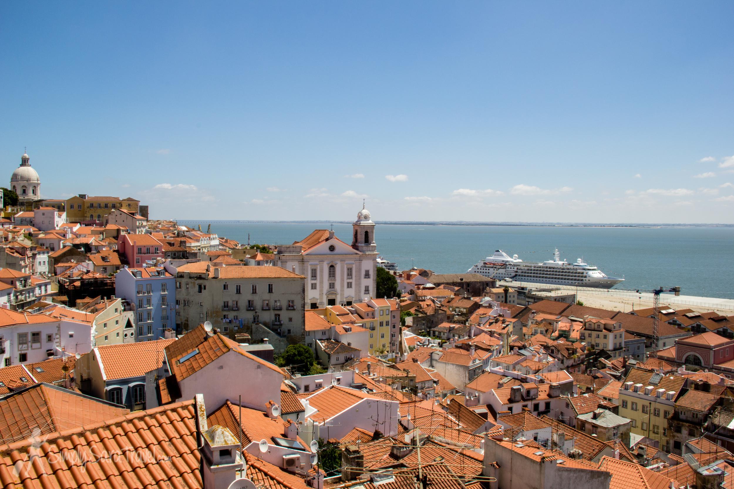 Looking over theAlfama neighborhood towards the ocean in Lisbon
