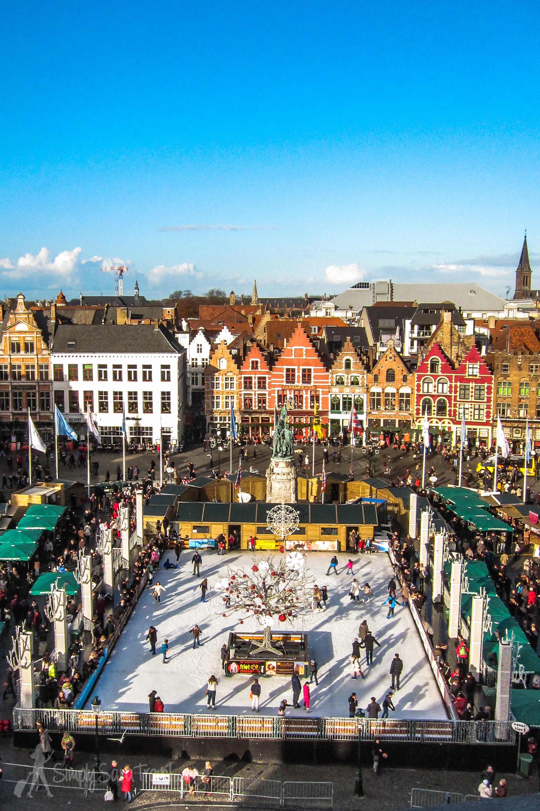 The Christmas market set up in Markt square in Bruges, as seen from above from the Belfry (bell tower)