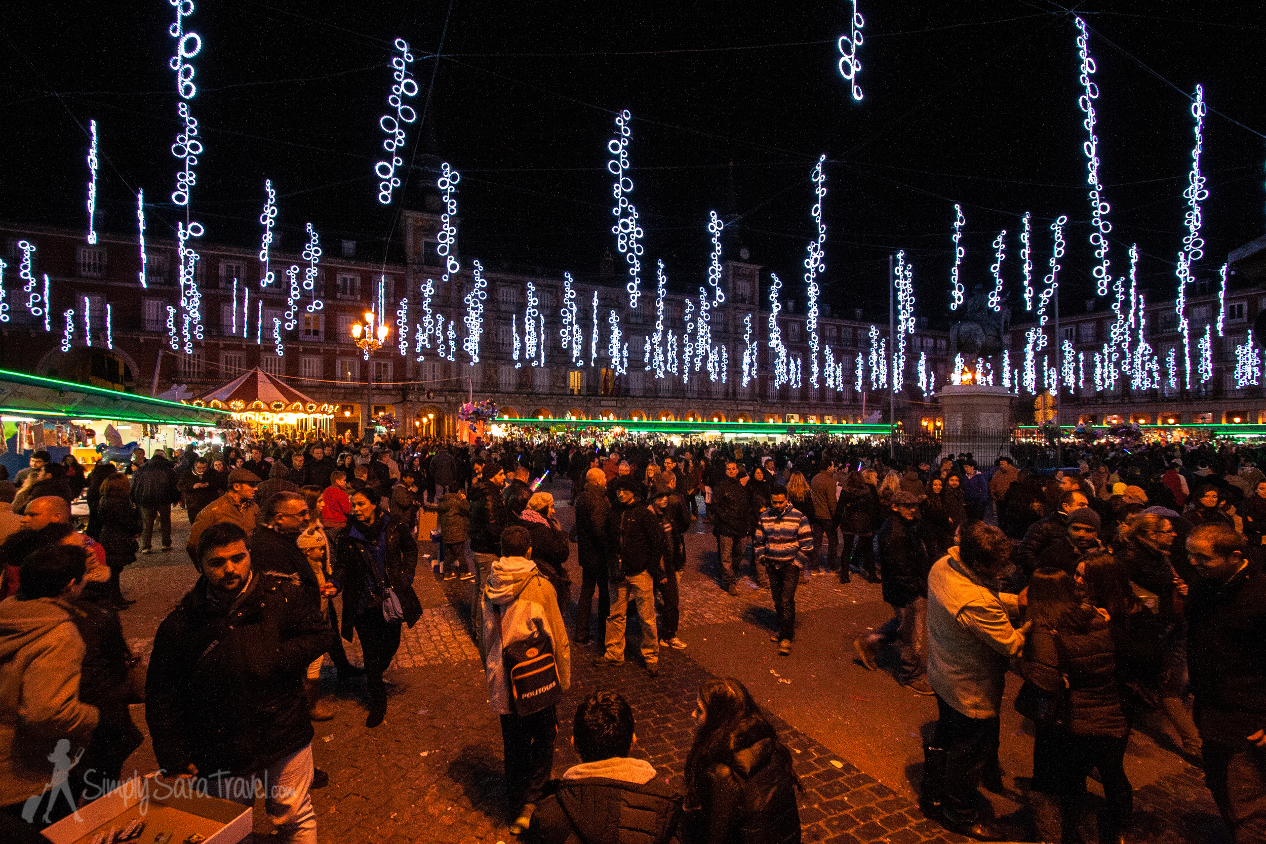 Pretty much the only photo I have from Madrid's Christmas market scene - uninspiring stalls but pretty lights.