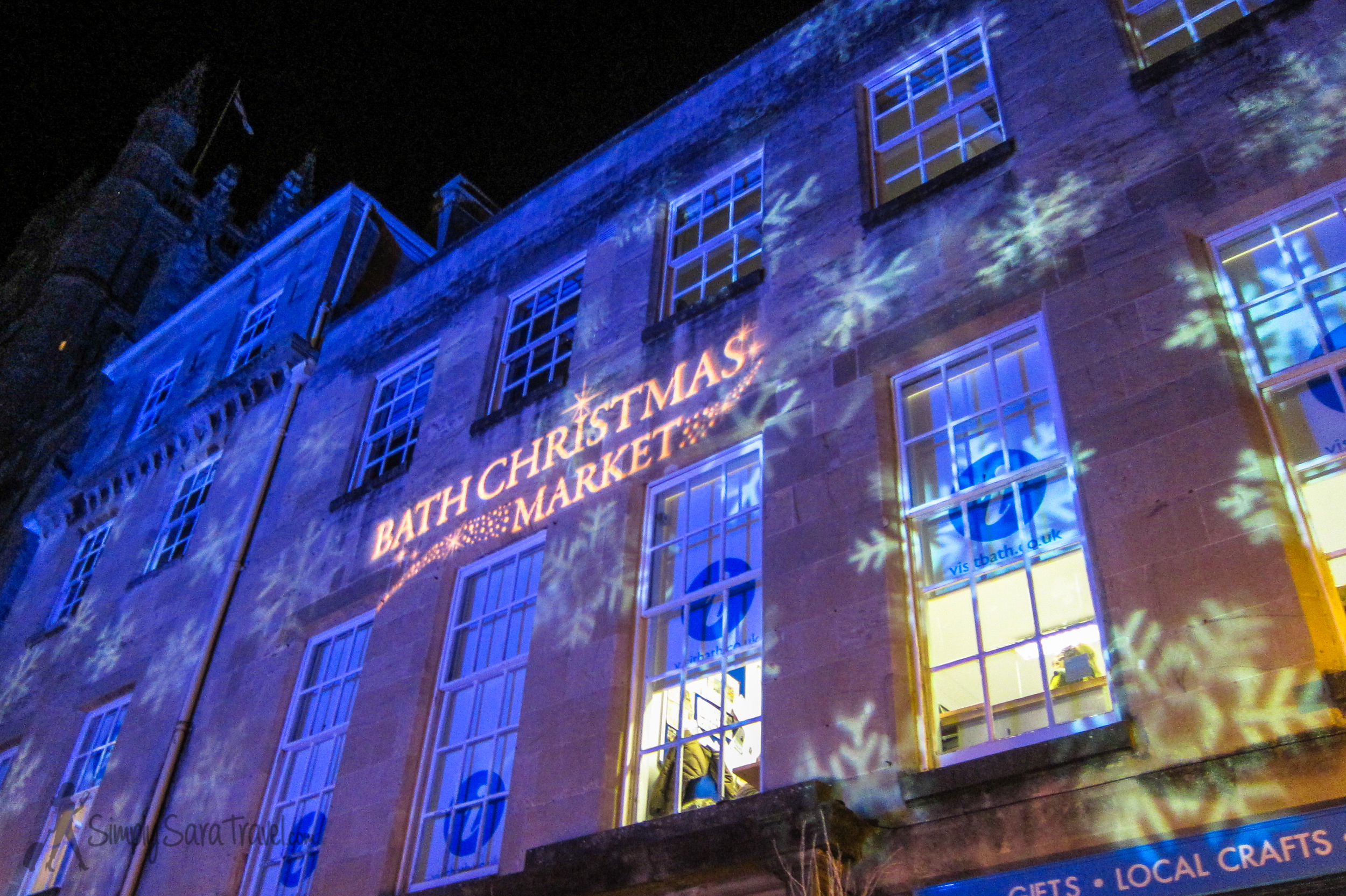 The Bath Christmas Market, projected onto a building