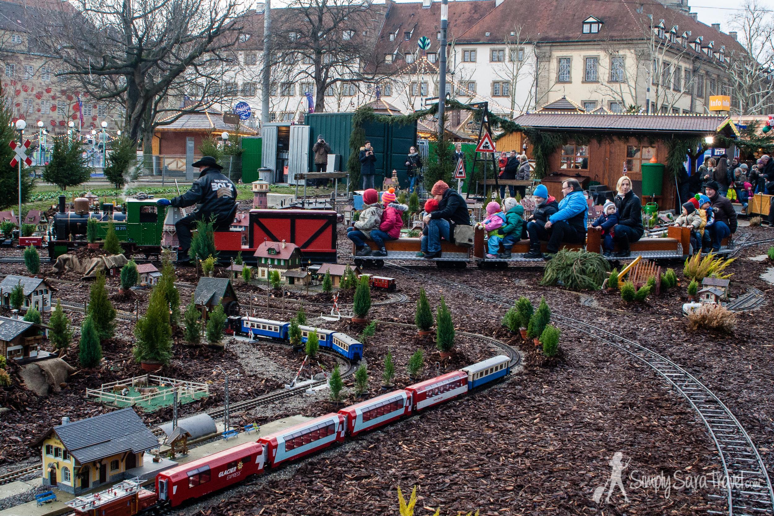 All aboard at Stuttgart's miniature train ride!