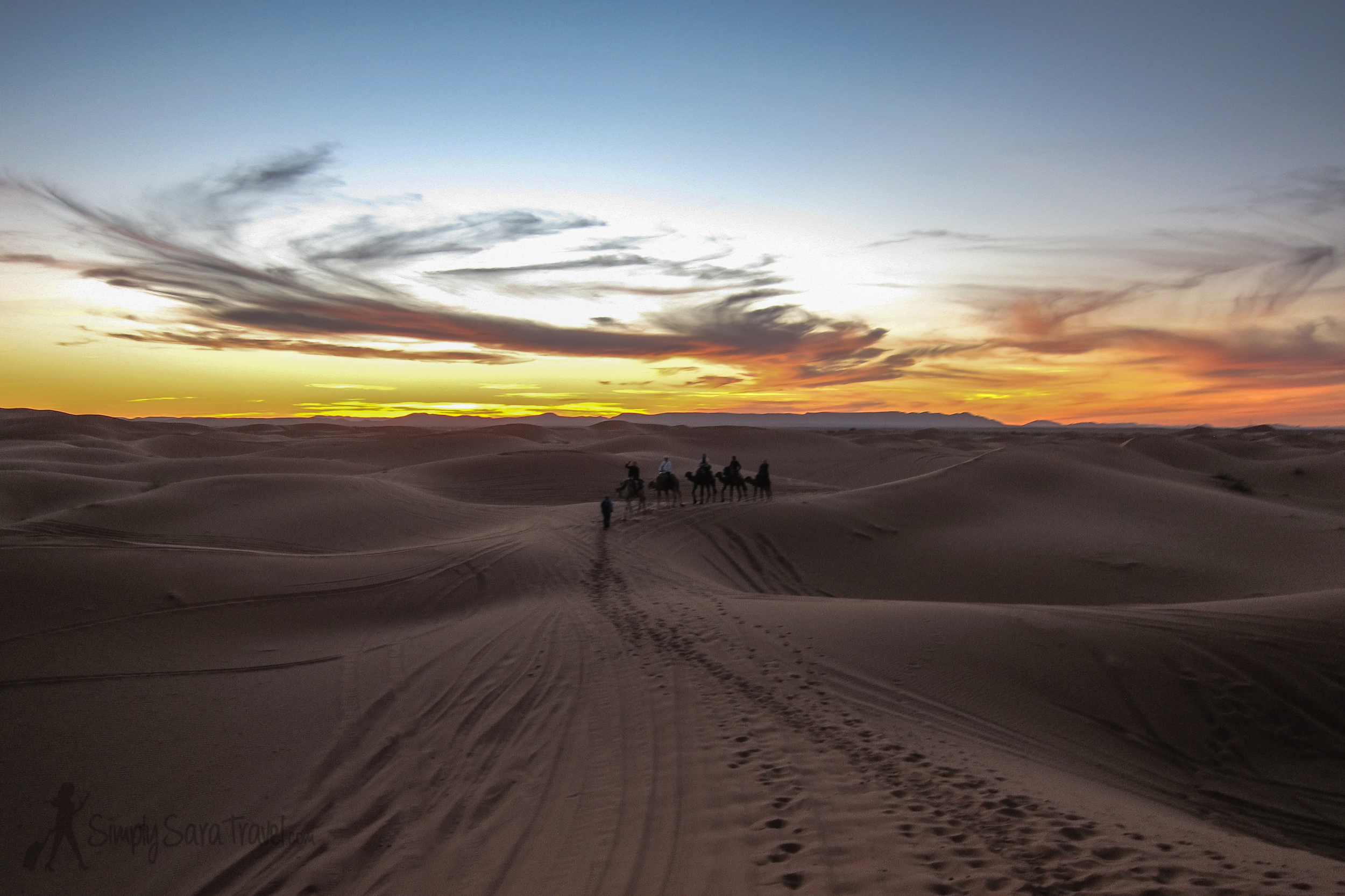 The last raysof sunset on our camel trek en routeto aBerber camp, where we spent the night.