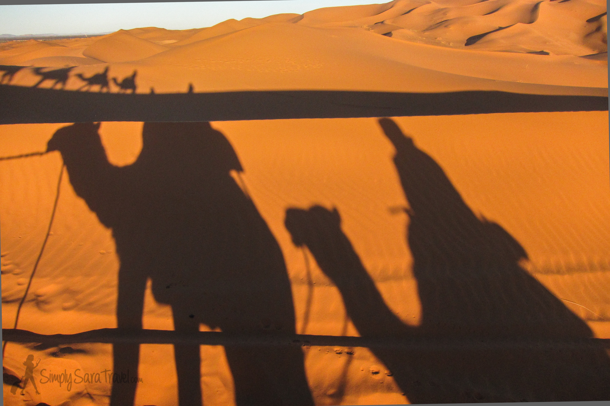 The next day, riding the camels back after sunrise. We were in the area with the highest sand dunes in northern Africa!