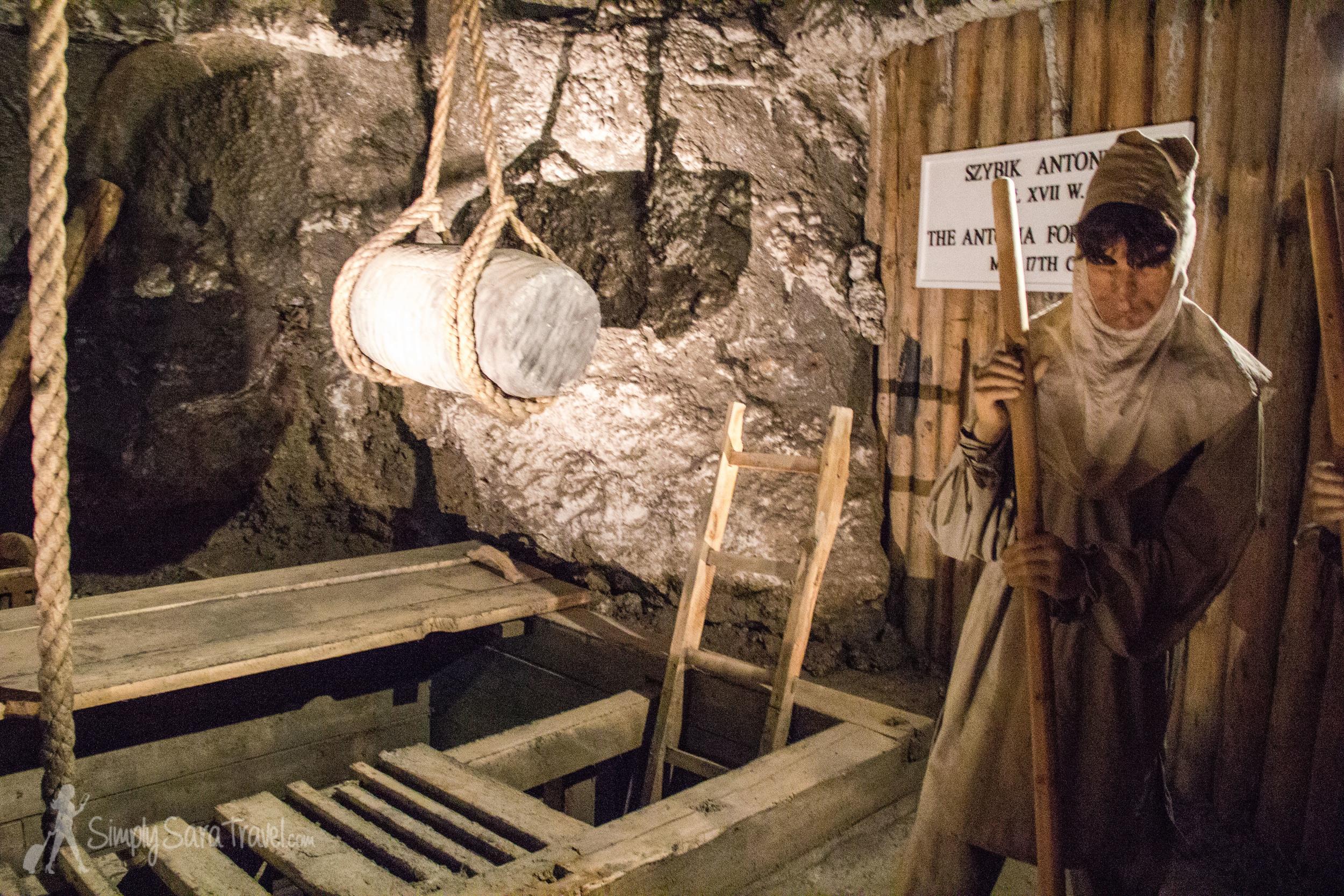 Model of a miner at work in theWieliczka Salt Mine