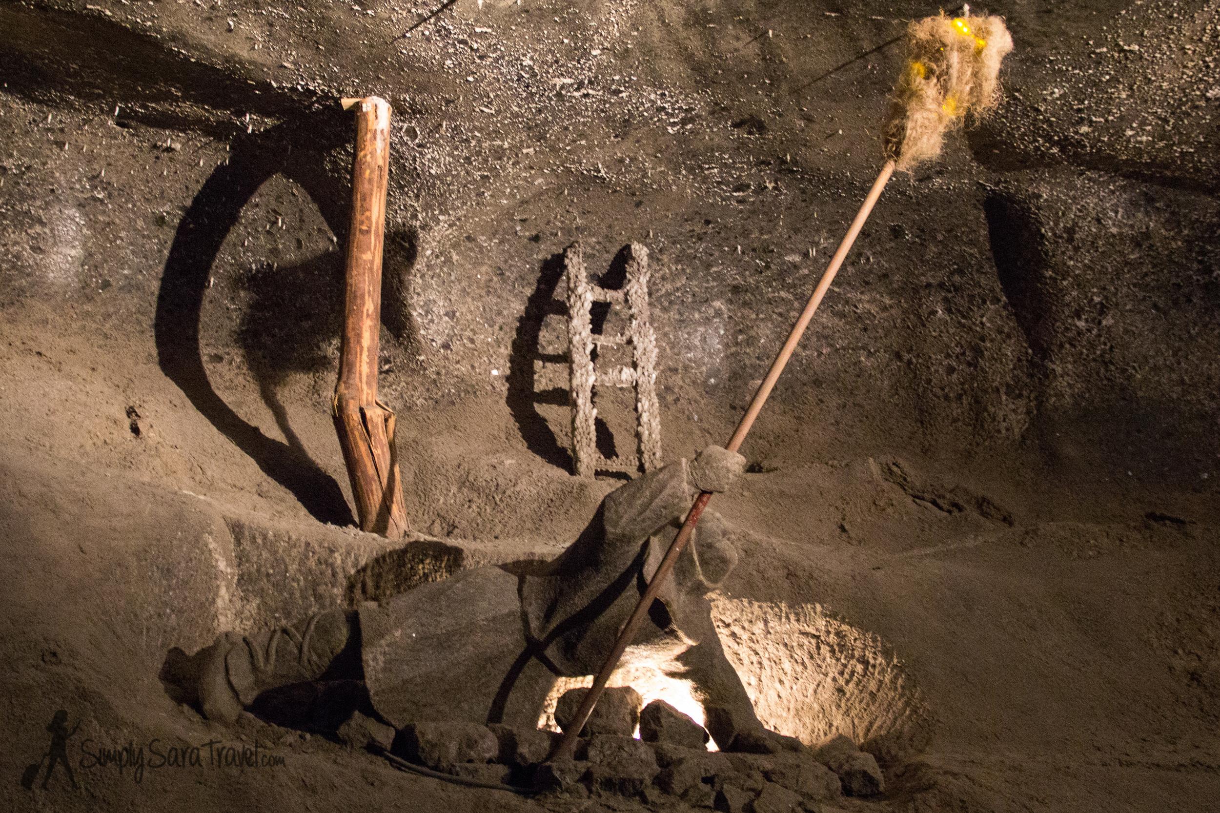 Sculpture of a miner working in theWieliczka Salt Mine, Poland