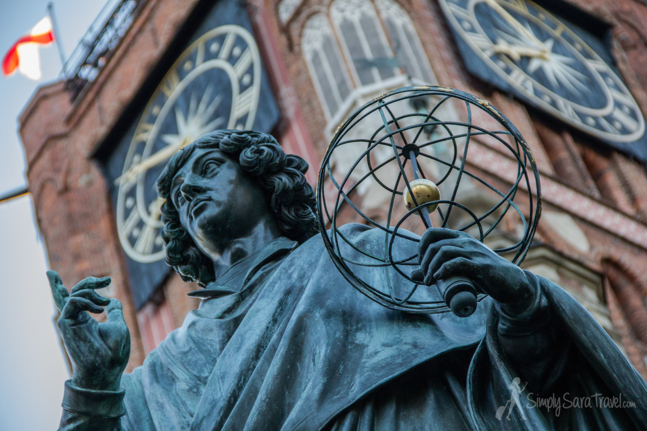 Toruń's most famous homeboy, Nicholas Copernicus, showing his theory that the sun (not the earth) is at the center of the universe