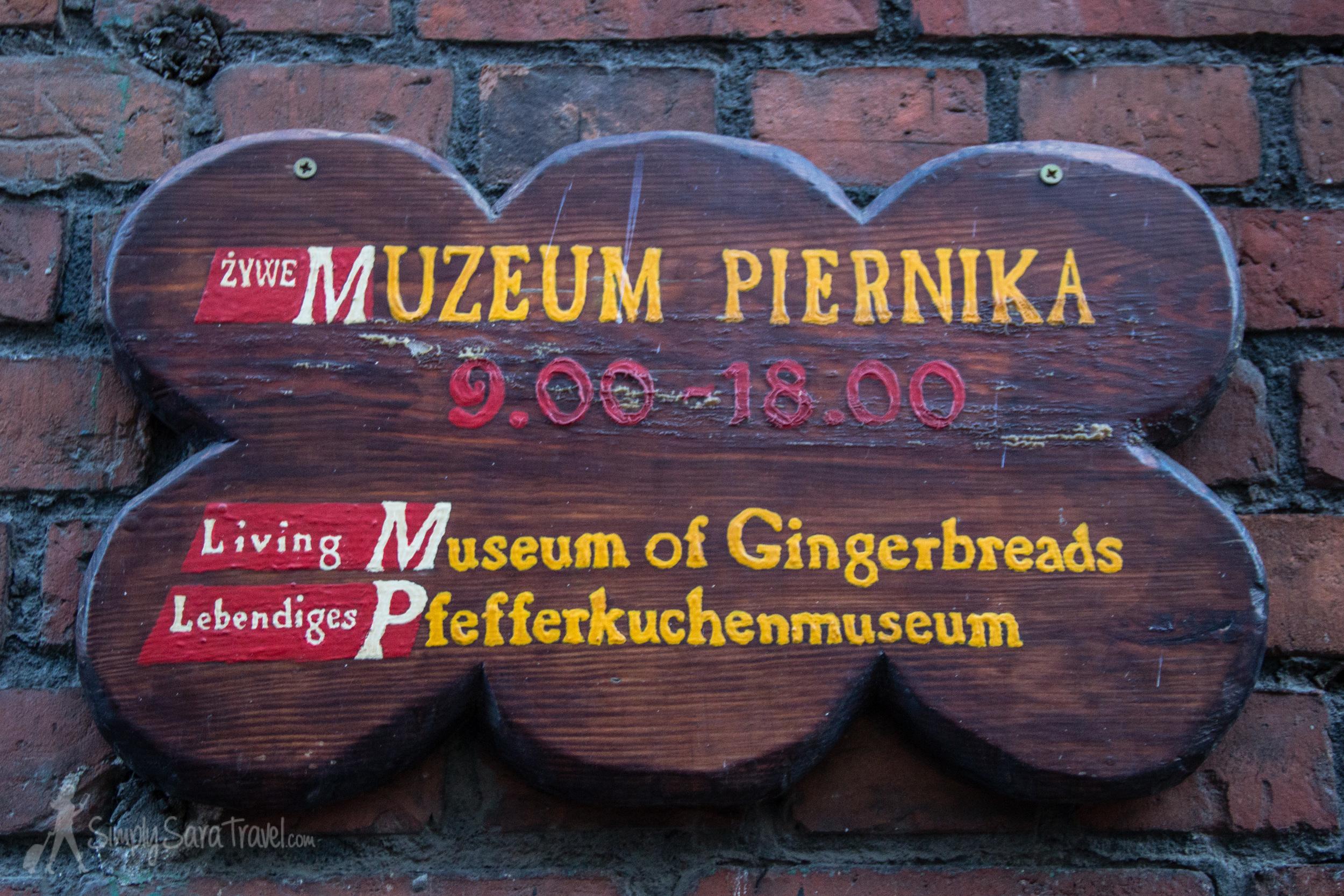 Sign of the Muzeum Piernika (Gingerbread Museum) inToruń, Poland