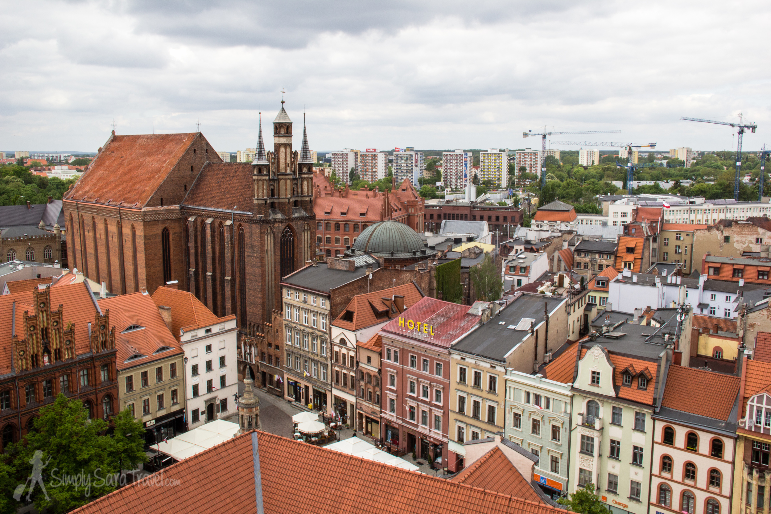 View ofToruń, Poland from the Old City Town Hall