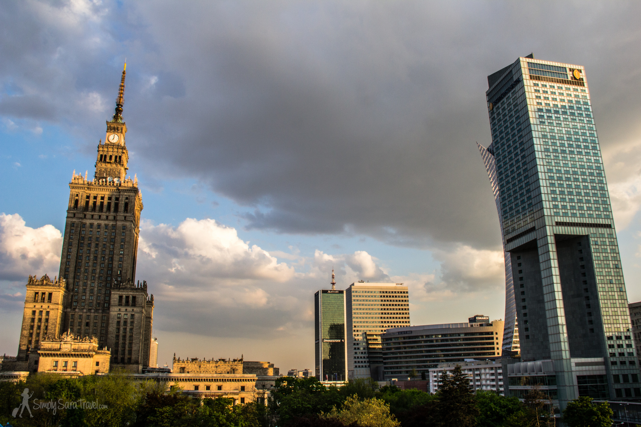Warsaw, as seen from the balcony of our Airbnb apartment rental