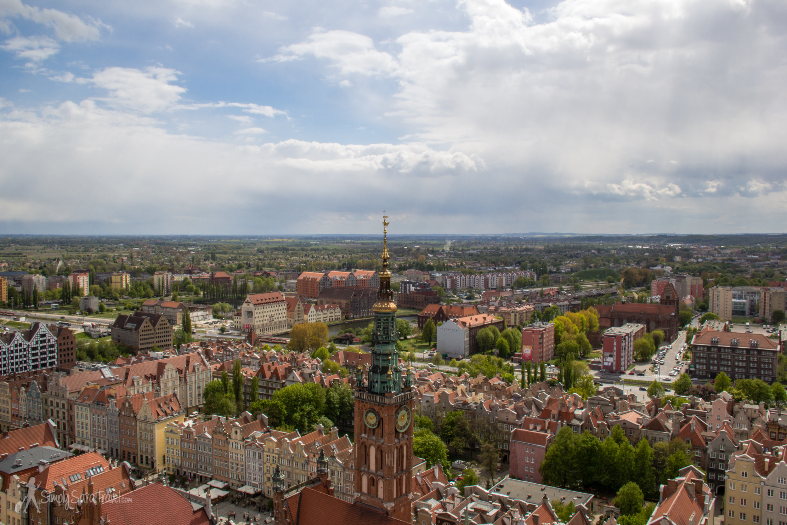 View ofGdańsk from the tower of St. Mary's Church
