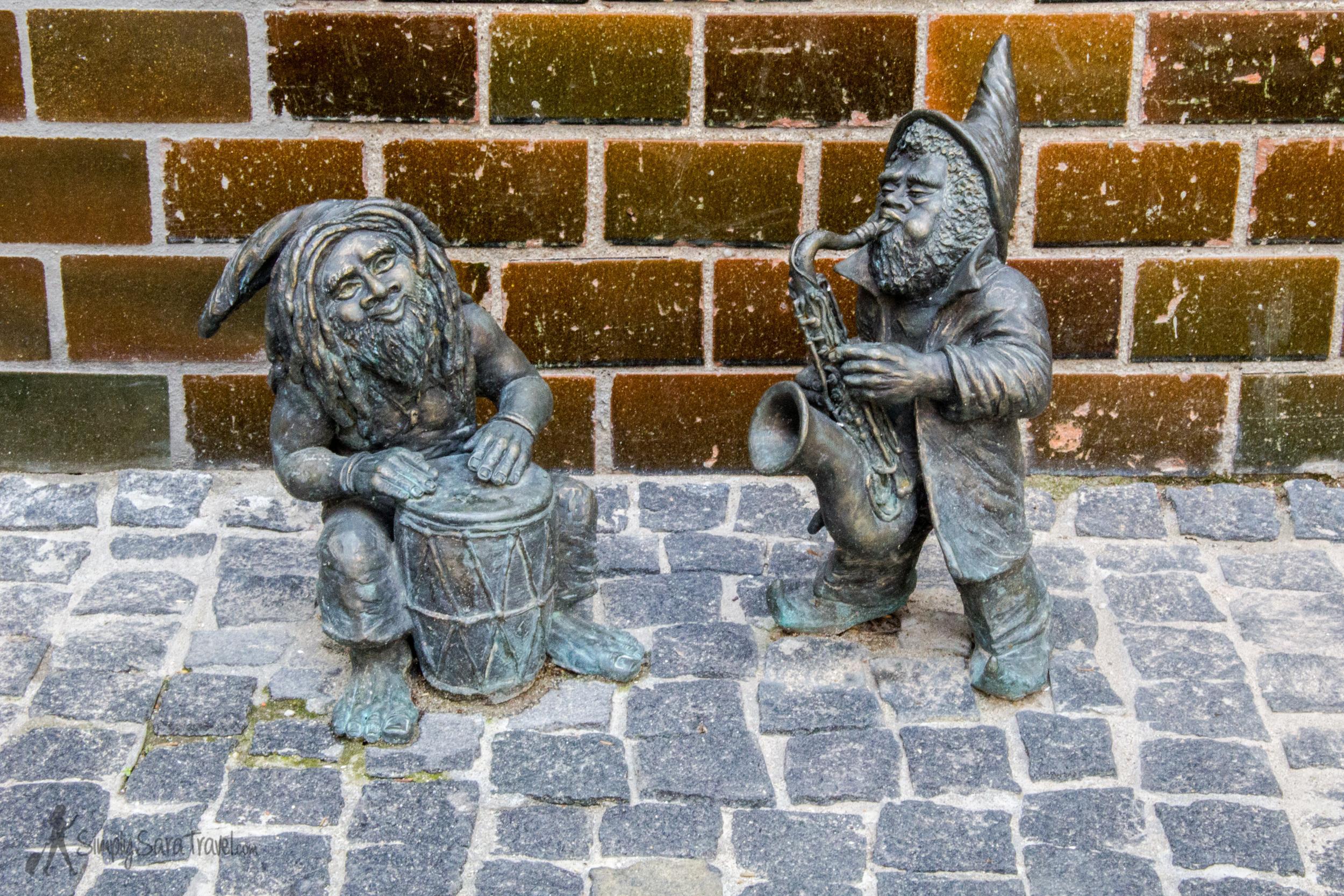 Musician gnomes in Wroclaw, Poland