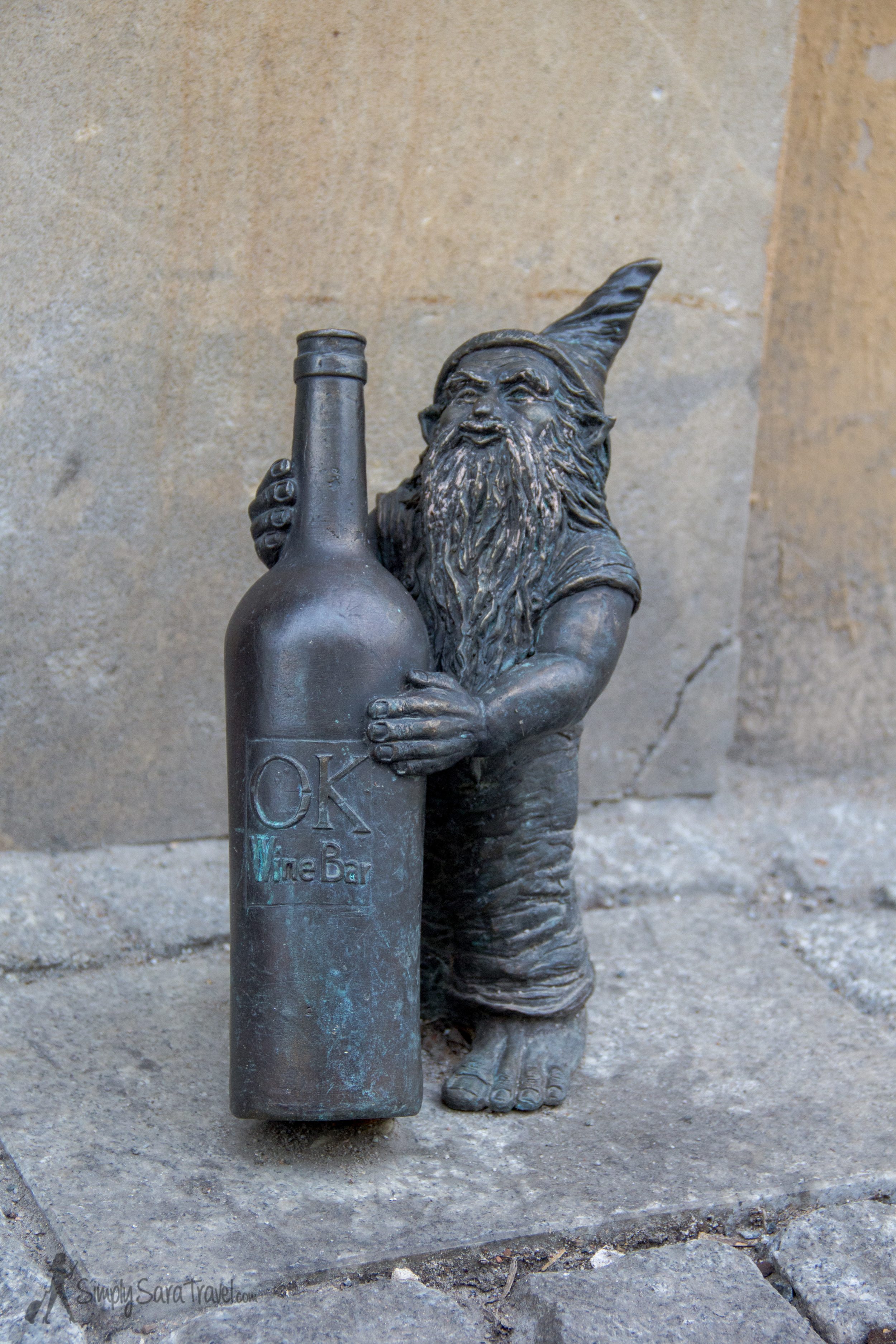 Gnome in front of the Ok Wine Bar in Wroclaw, Poland