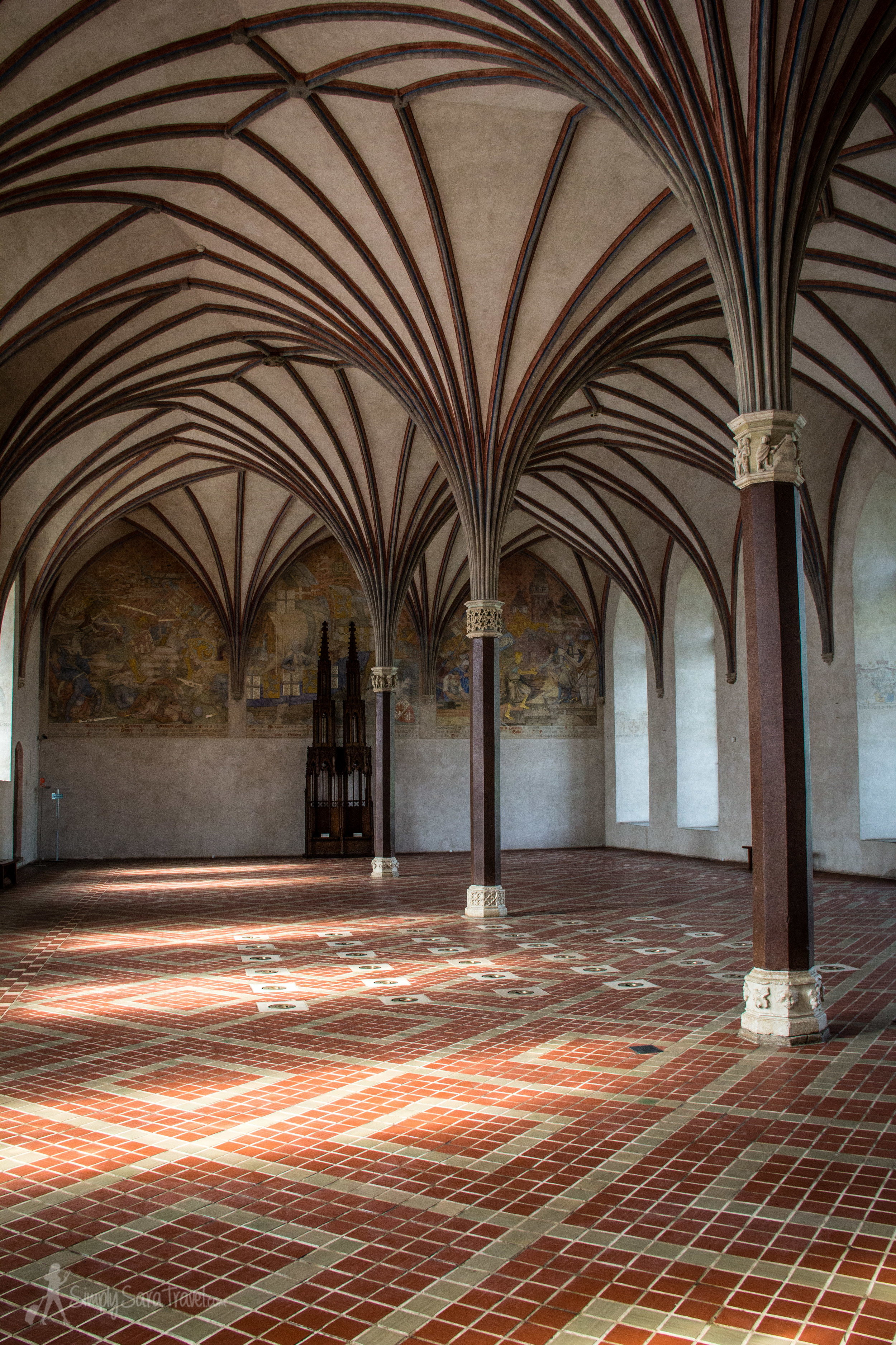 Inside the Grand Refectory of Malbork Castle, designed to hold banquets for up to 400 guests.