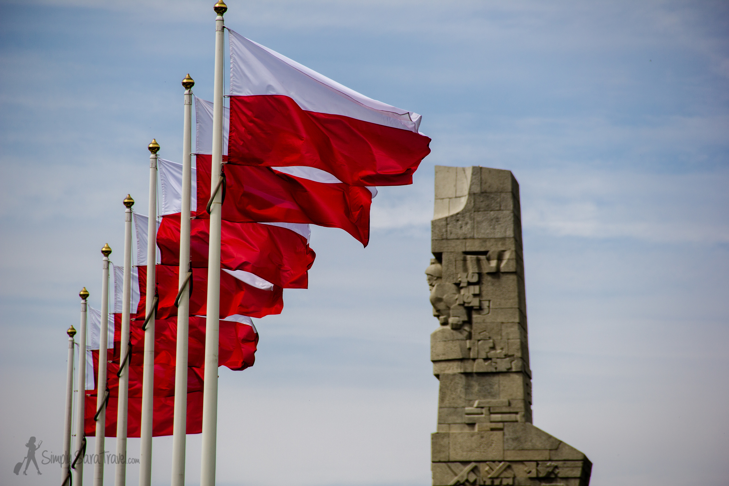 Westerplatte Monument to the Defenders of the Coast with Polish flags, Gdańsk, Poland