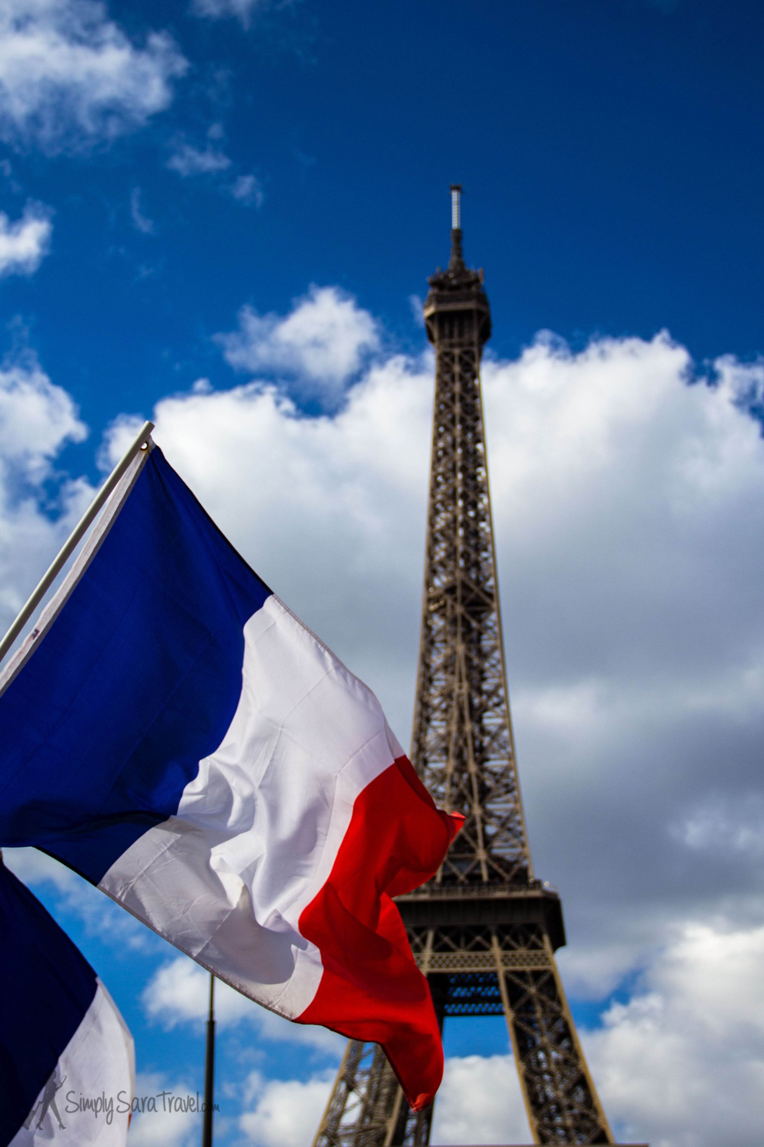 French flag with Eiffel Tower in background, Paris, France