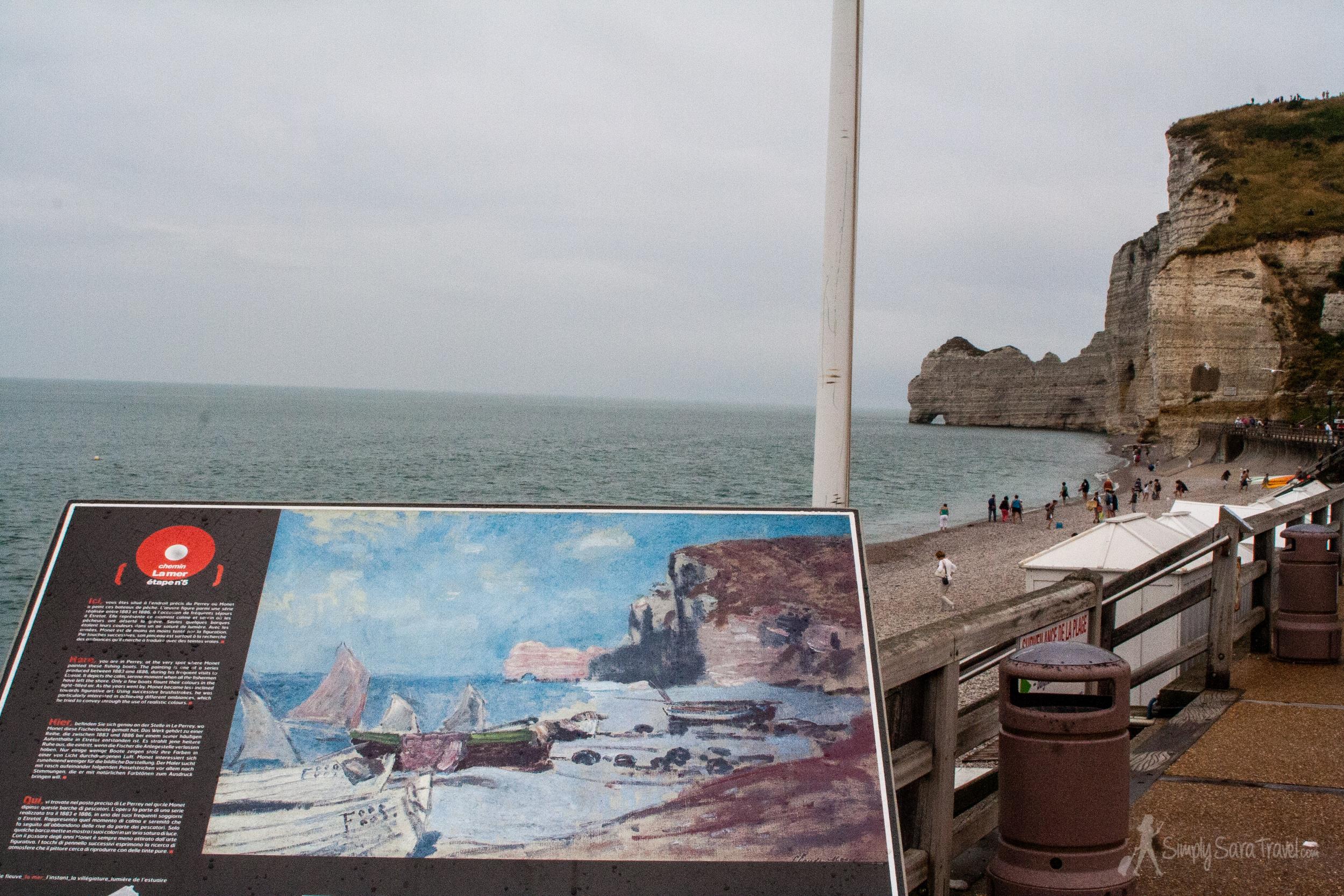 The same view Monet painted inÉtretat.