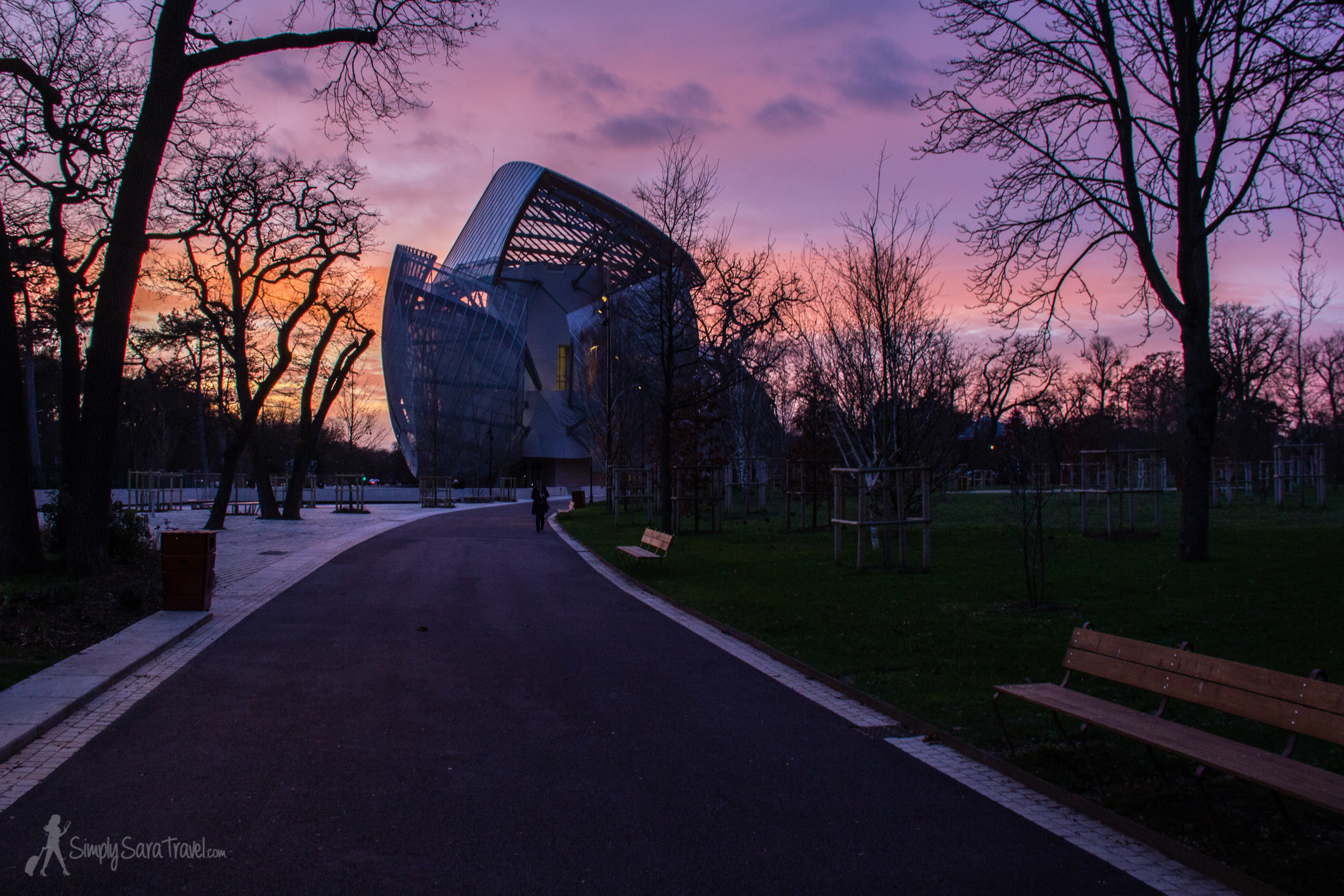 Vibrant sunset atJardin d'Acclimatation with Fondation Louis Vuitton in western Paris, France
