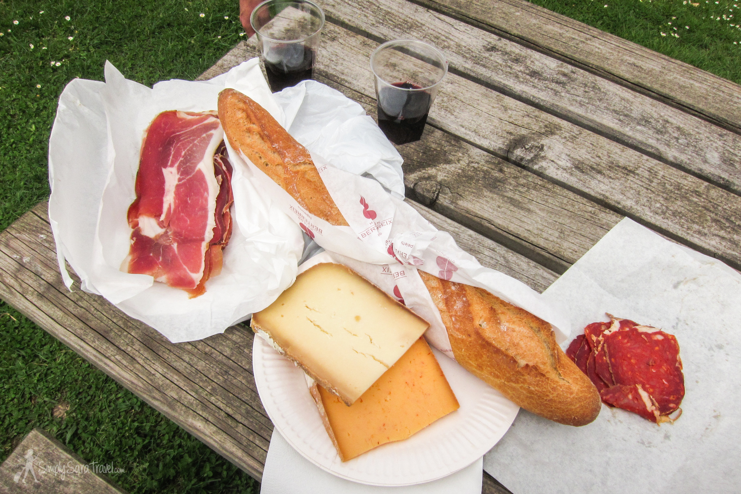 All of the essentials are here - bread, cheese, and wine - and some charcuterie for a nice little finishing touch.