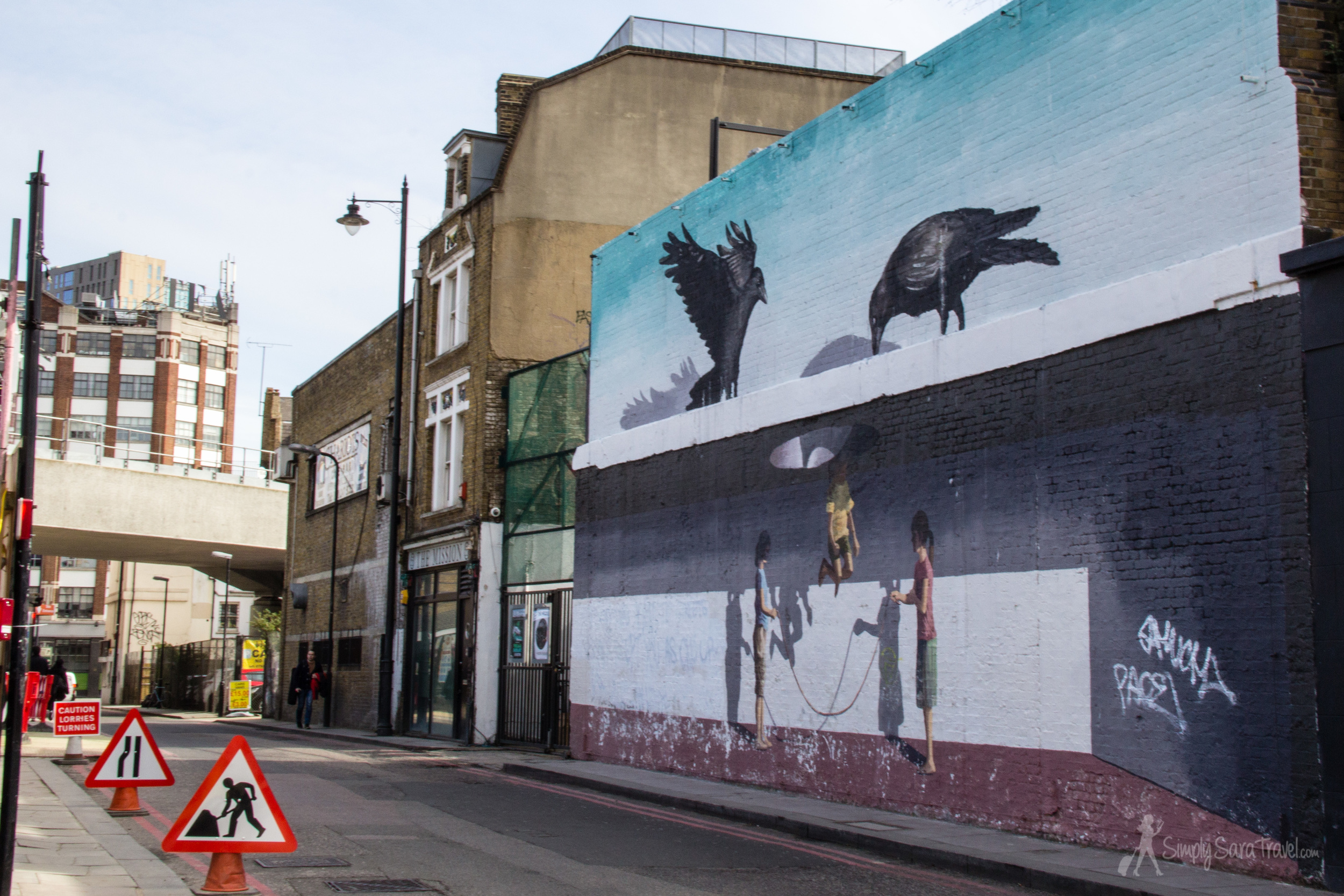 Street art in Shoreditch, London, England, birds and jump rope
