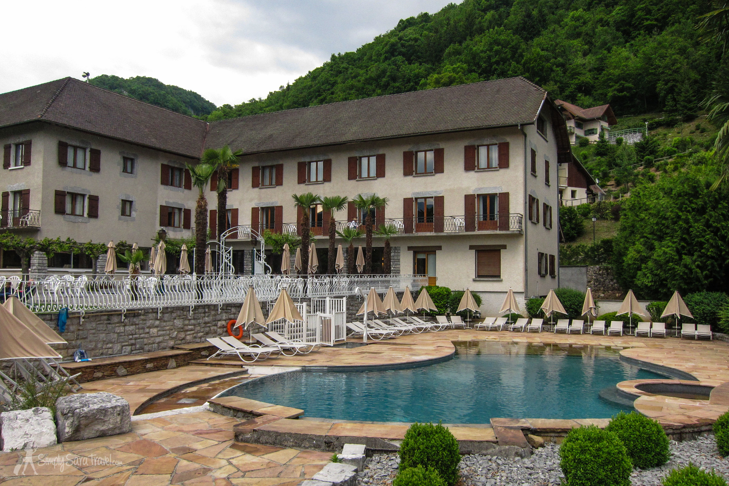 It was a little chilly to swim in May, but the pool area looked like it would be fun in the height of summer, surrounded by lush green mountains.