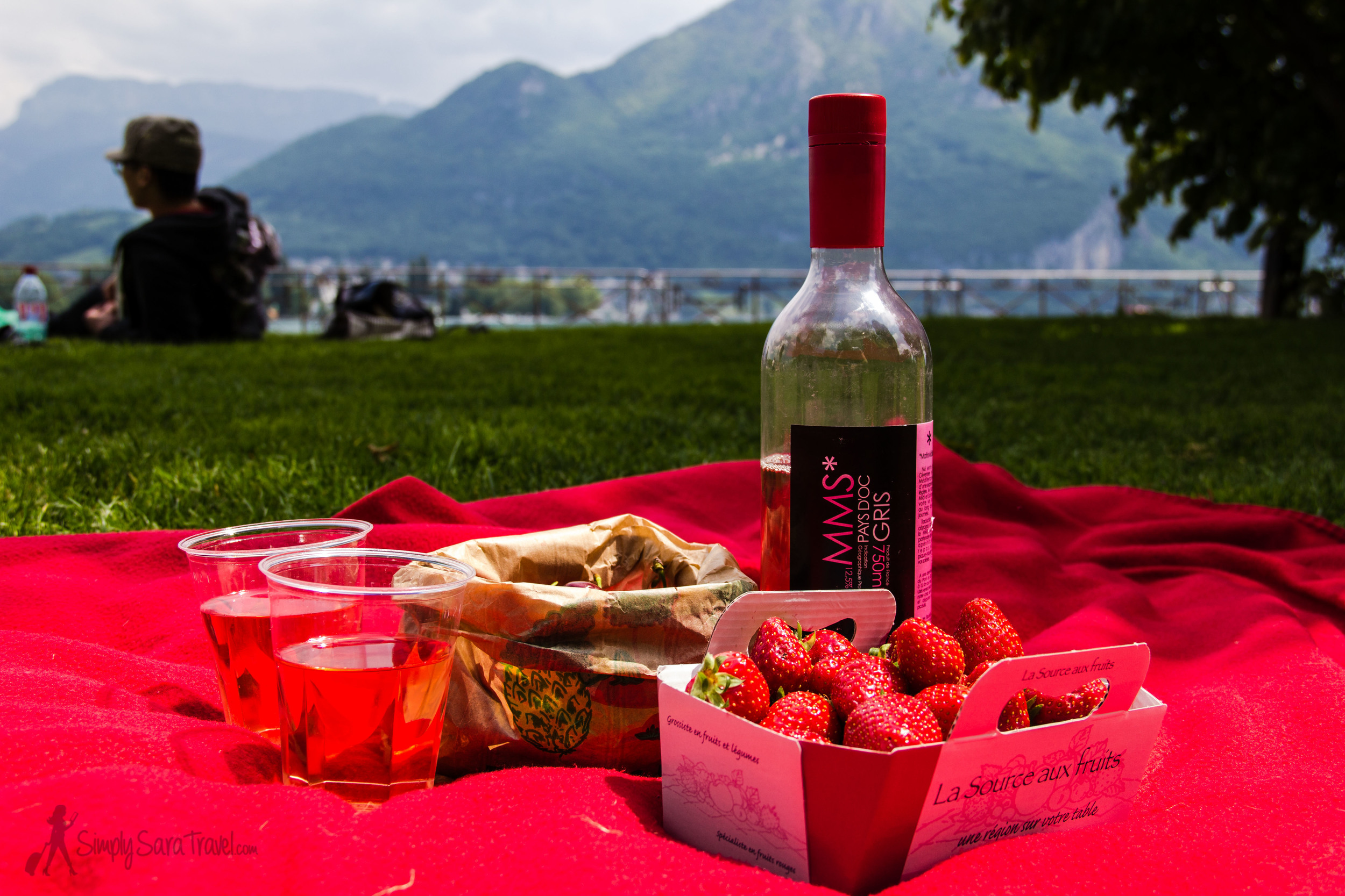 Honestly, we didn't realize we had selected all pink-colored edibles until we placed the strawberries, cherries, and ros é wine from the market in Annecy onto our red picnic blanket!