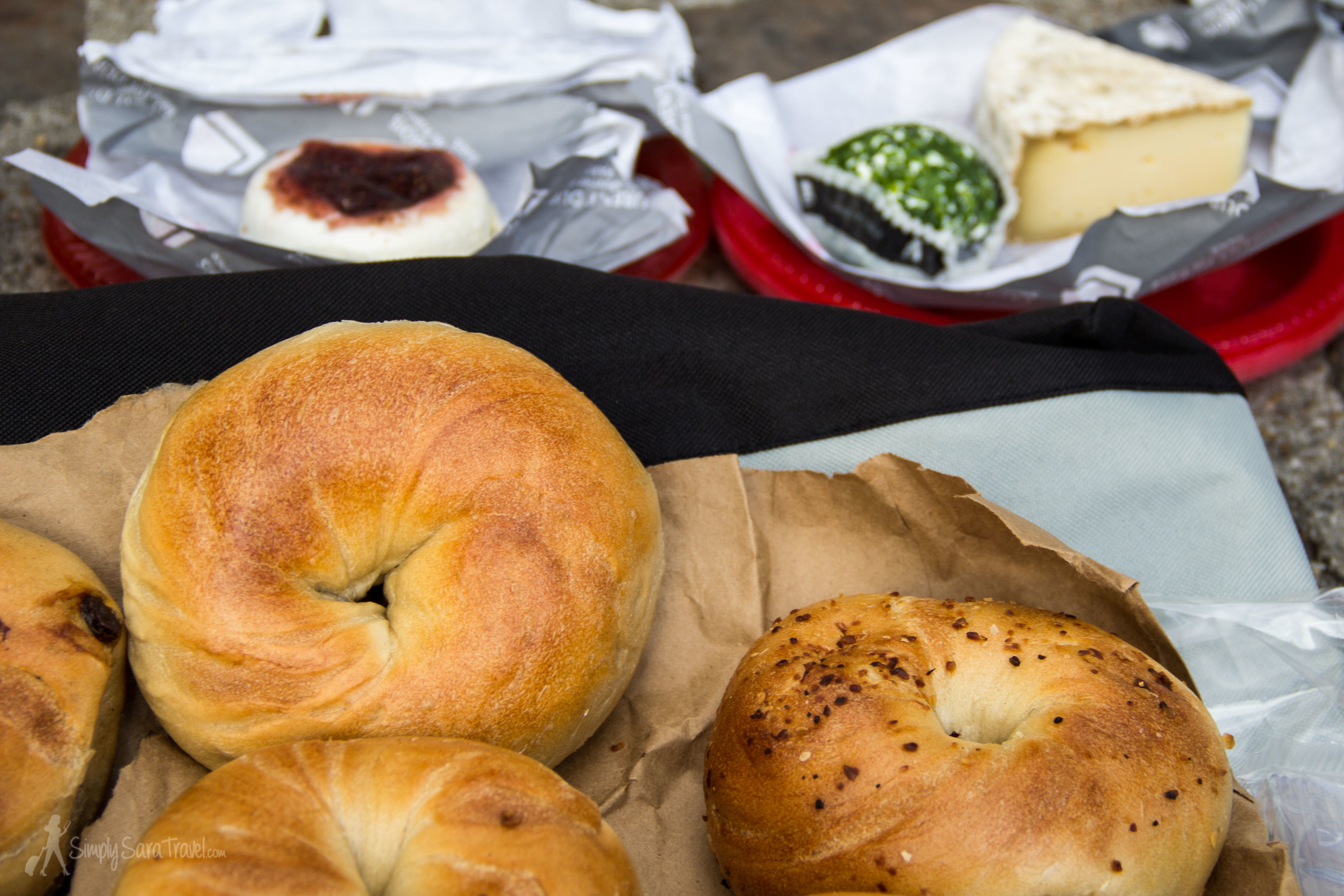 We brought some fresh New York bagels with us, and had a bagel-and-French-cheese pairing at our picnic! [Pro-tip that I learned the hard way - packing onion or everything bagels in your carry-on will REEK! And make your bag linger with an onion/garlic scent for weeks. And repel your fellow plane-mates from you. But is so worth it.]