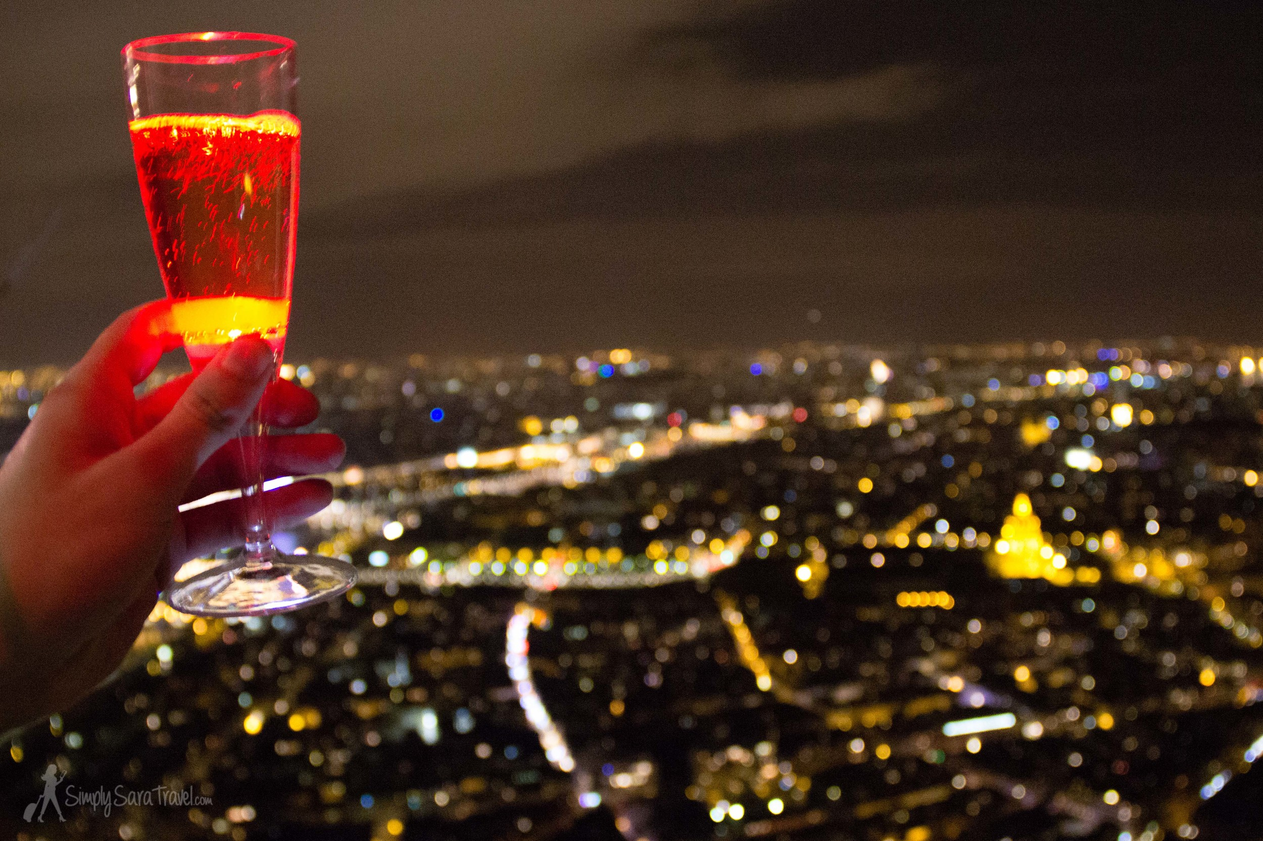 How many times can you say that your Thanksgiving ended with a flute of champagne at the top of the Eiffel Tower?