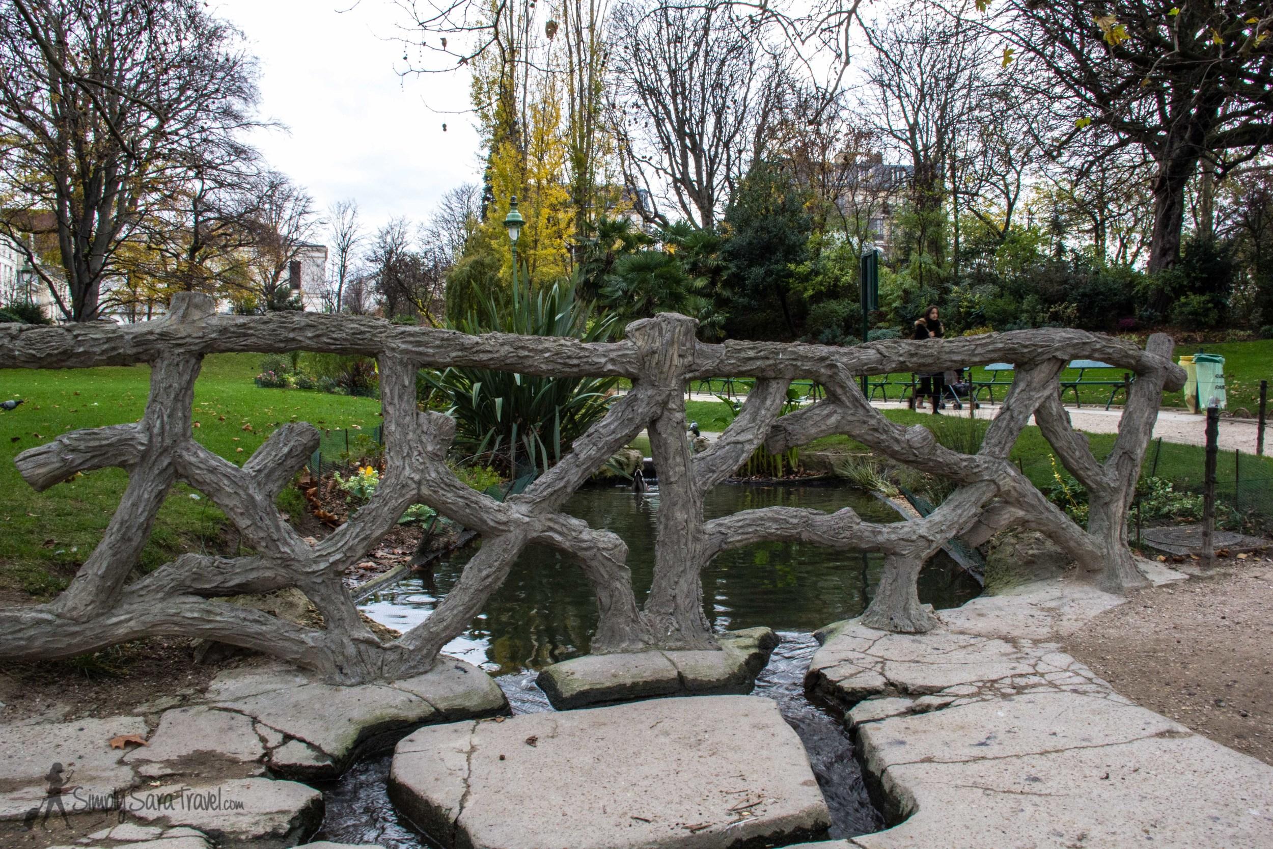 Bridge in Square des Batignolles, Paris, France