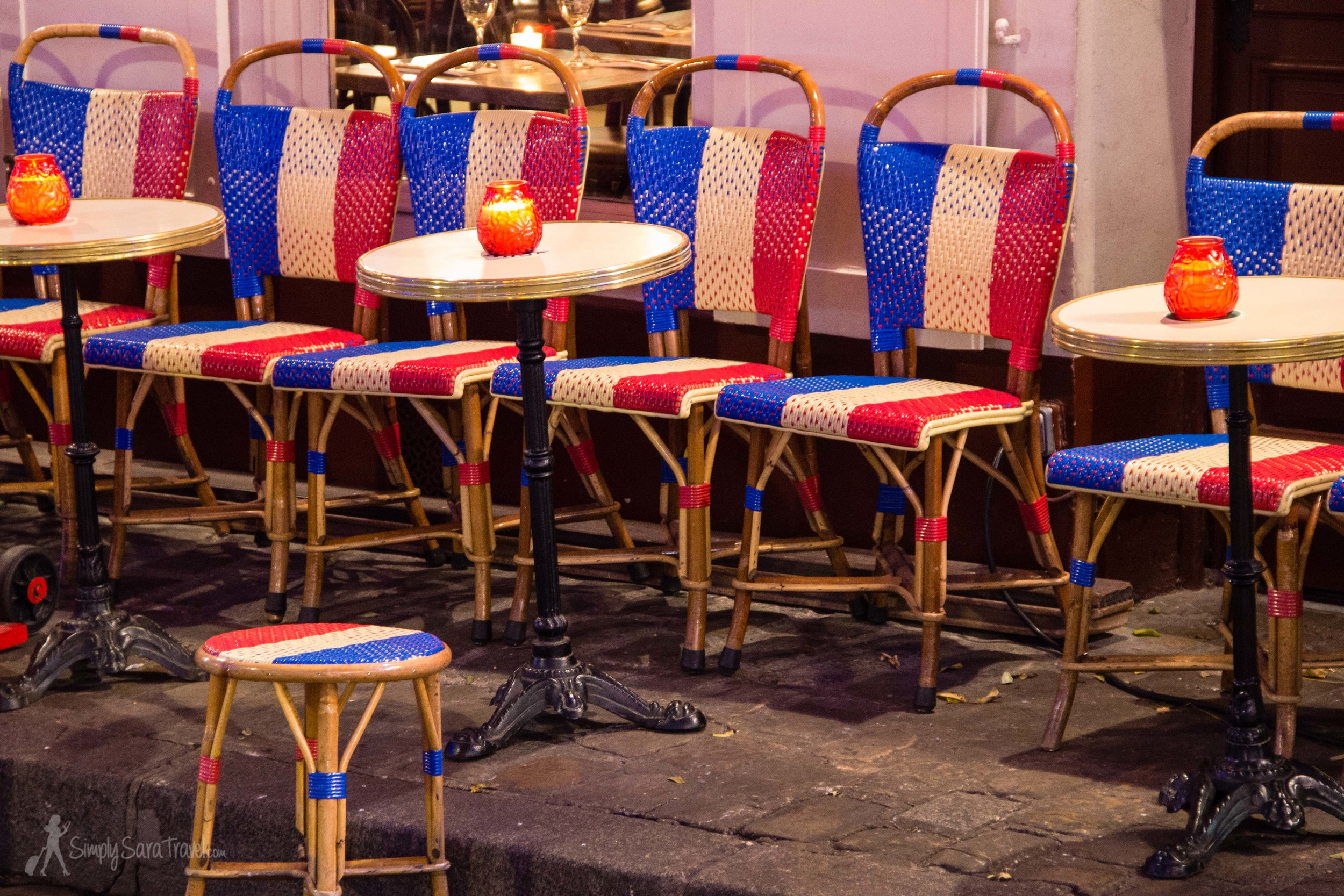 Tricolor flag chairs French flag cafe Montmartre Paris, France