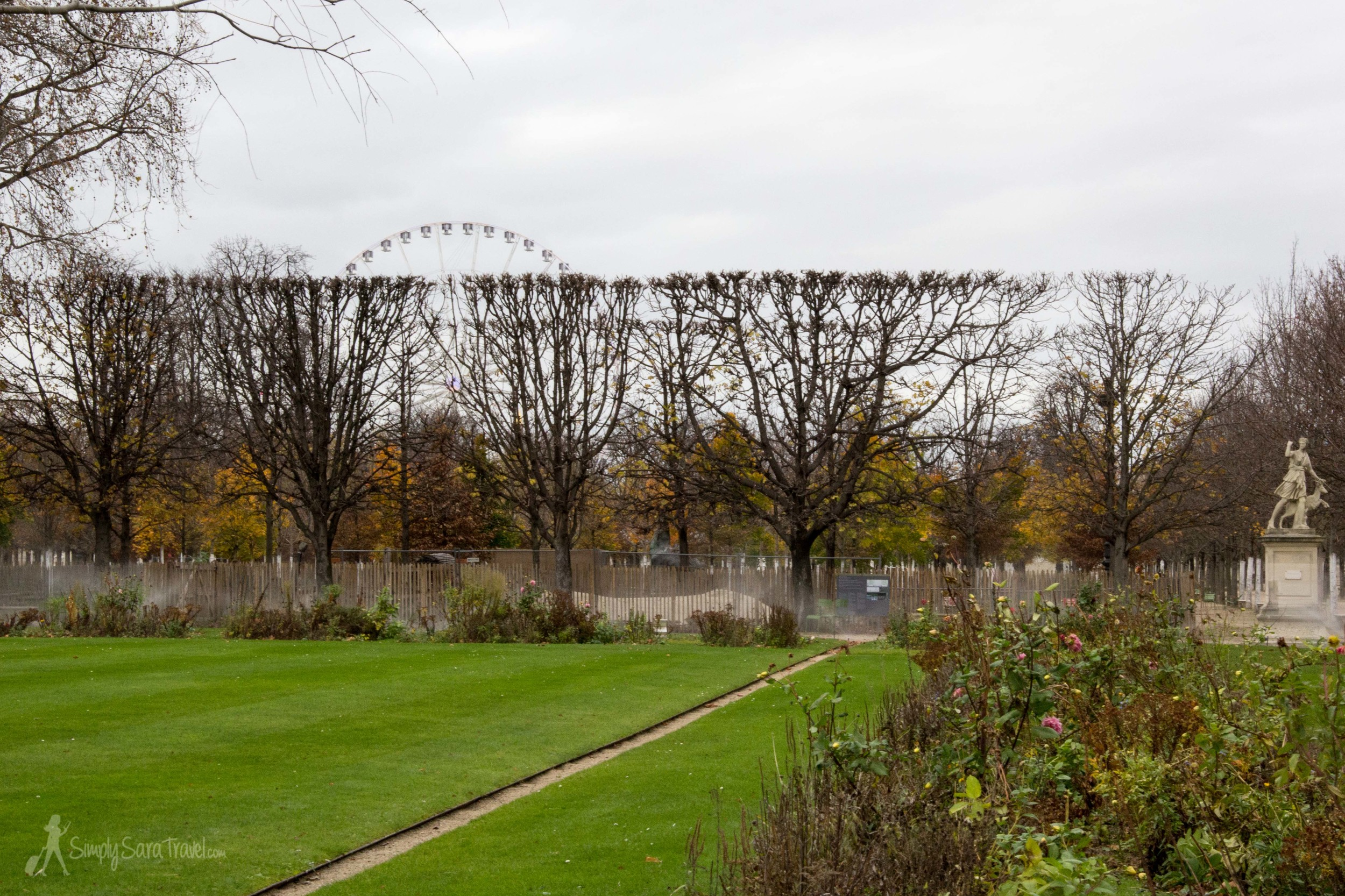 Tuileries Garden, Paris, France at winter with Grande Roue de Paris
