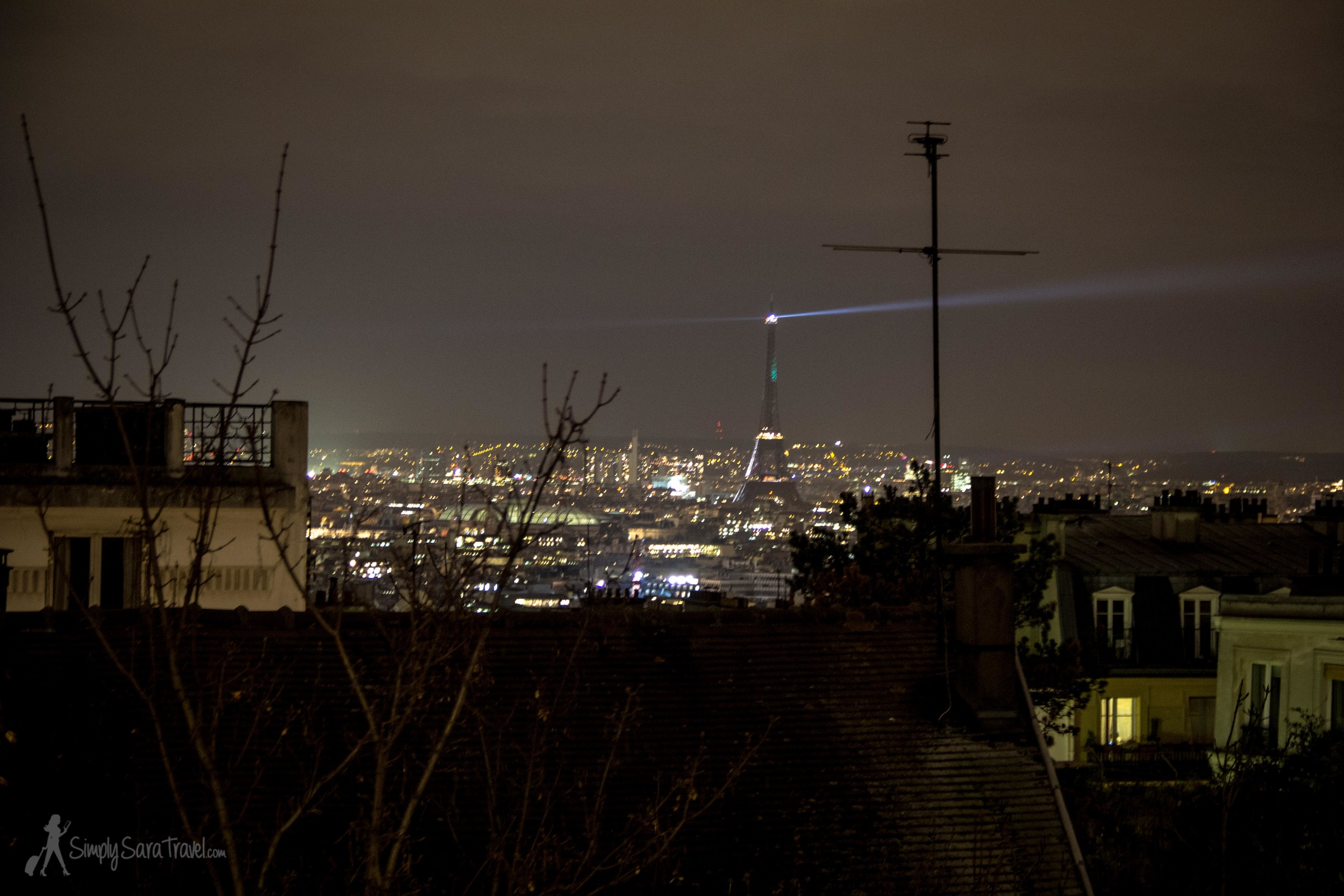 Catching a glimpse of the Iron Lady from Montmartre