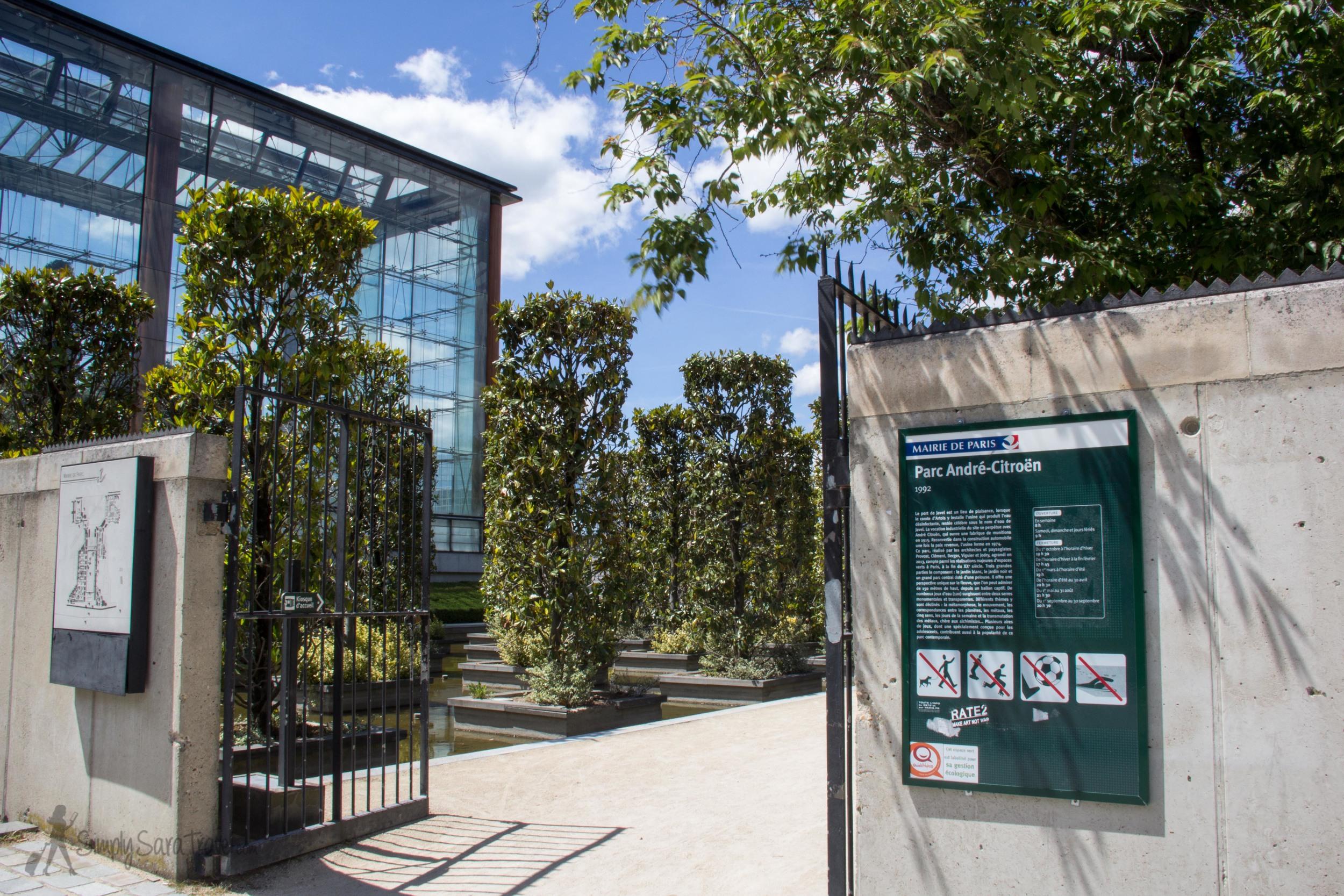 Entrance to Parc Andre Citroen, Paris, France 75015
