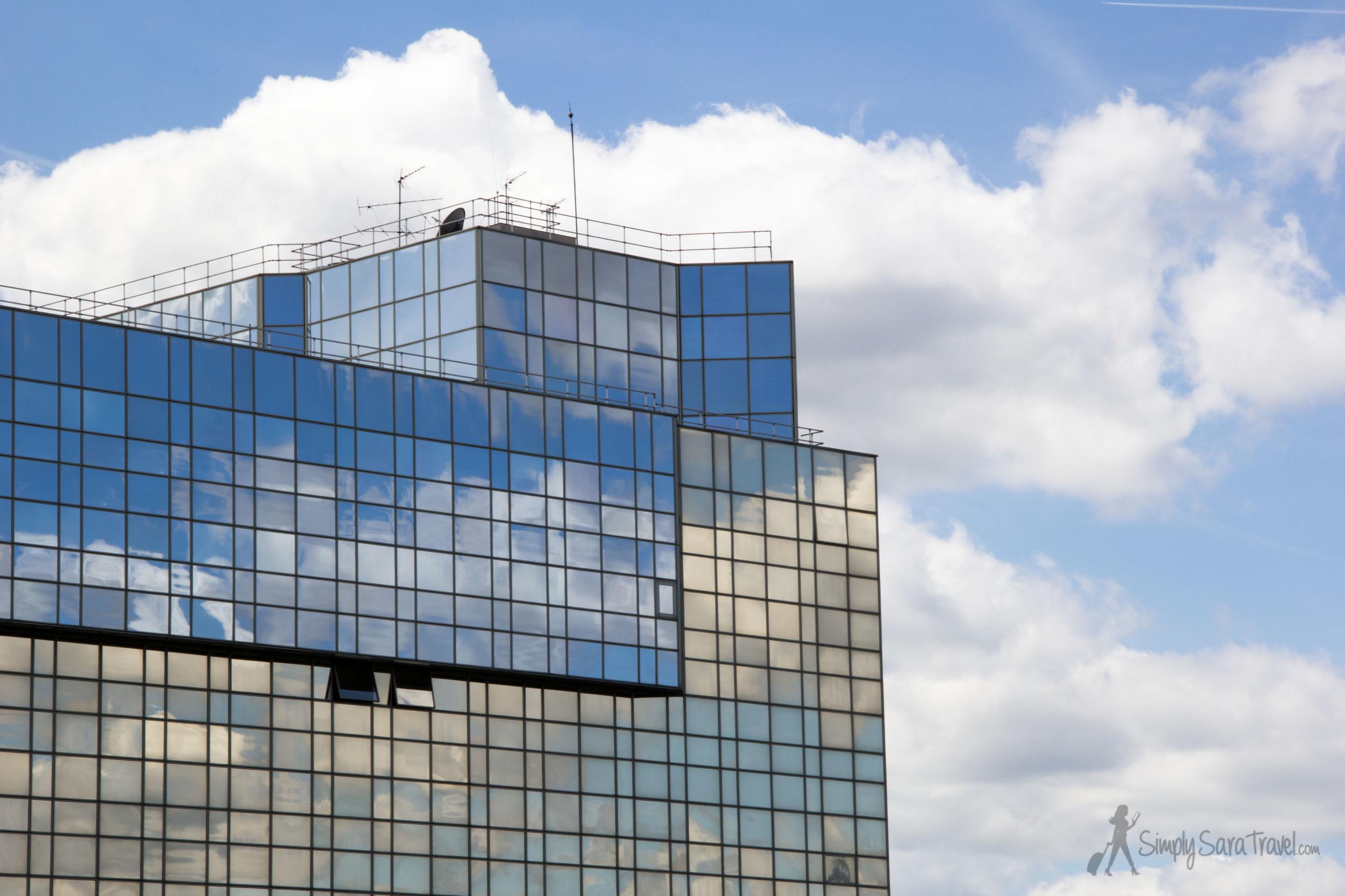 Modern building of Parc Andre Citroen, Paris, France