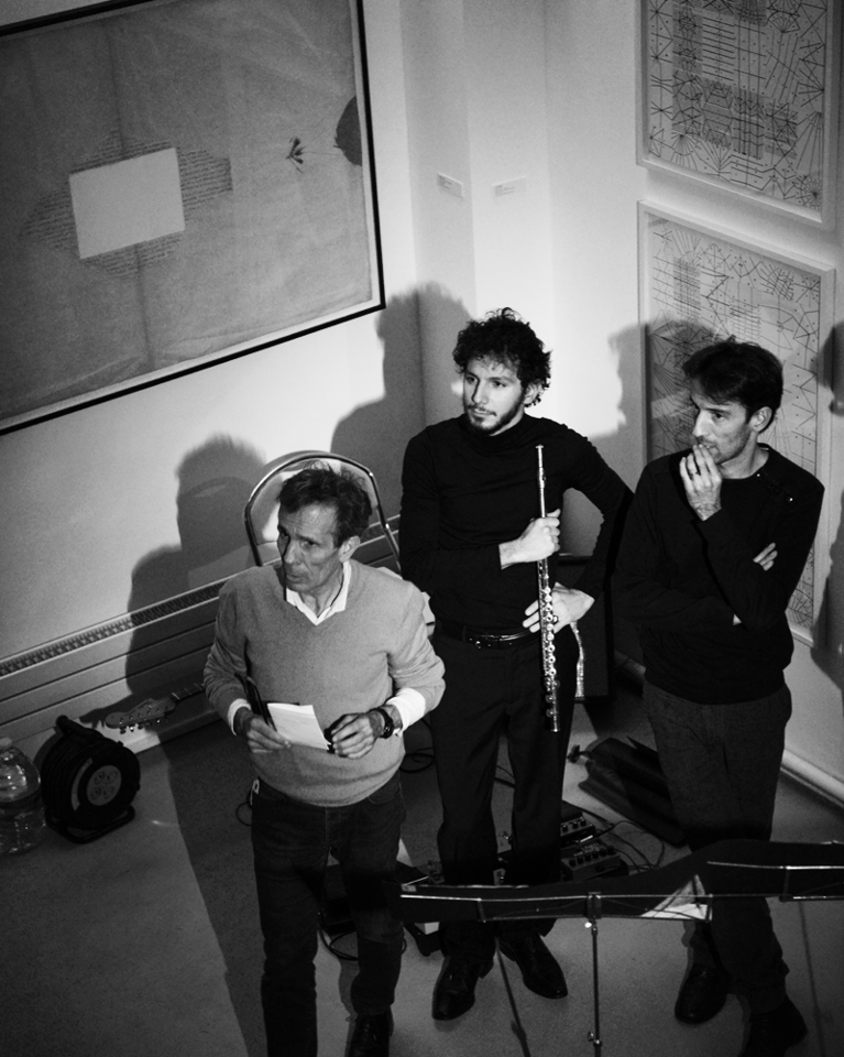 Avec Patrice Bonaffé et le compositeur Sébastian Rivas à la Fondation Hyppocrène à Paris