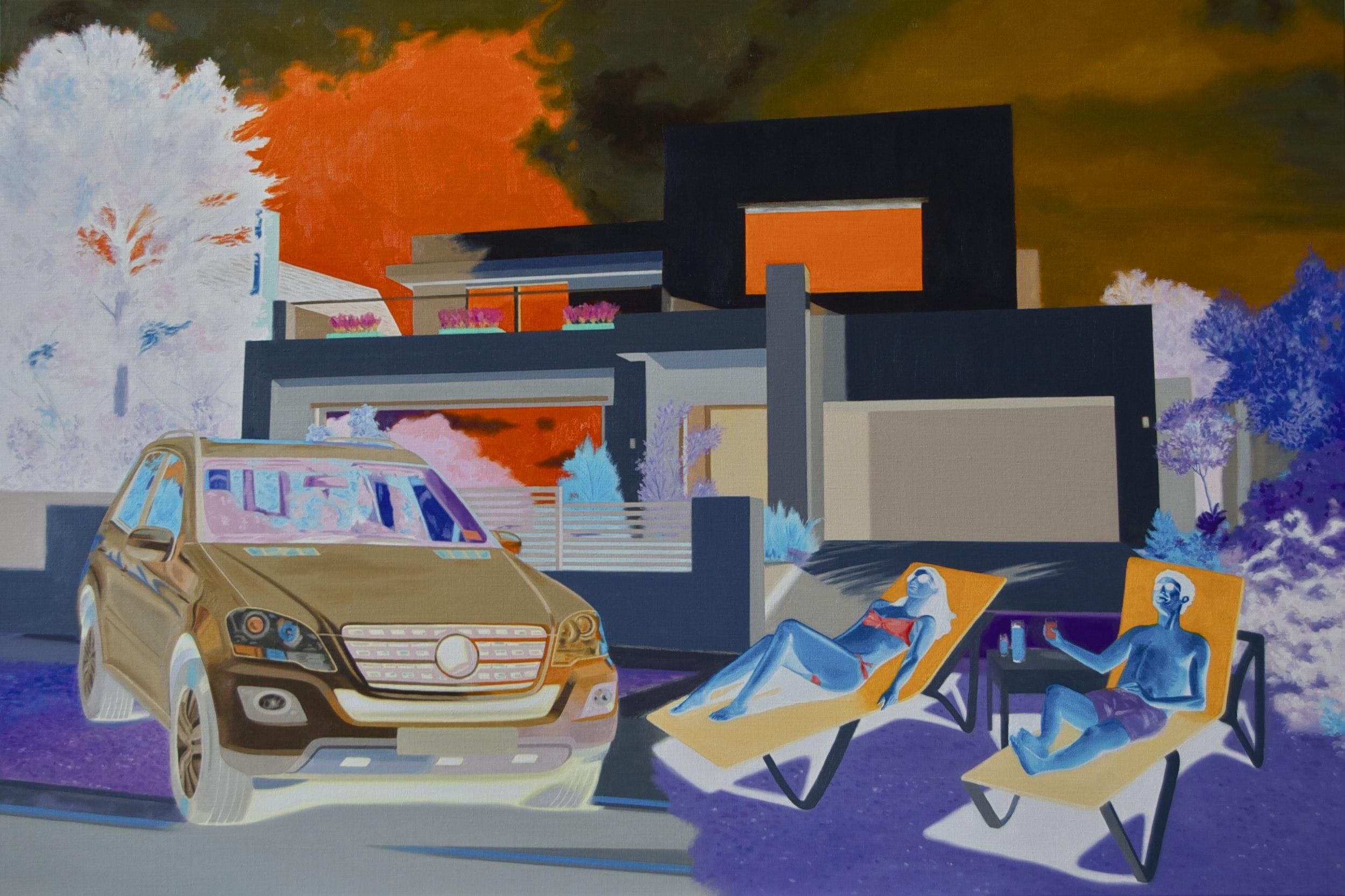Richard Knafelc  Running on empty  2014 oil on linen 102 x 152.5 cm