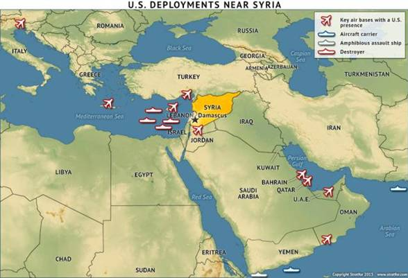 The US of course has plenty of war toys in theatre with another 2 carrier groups on route