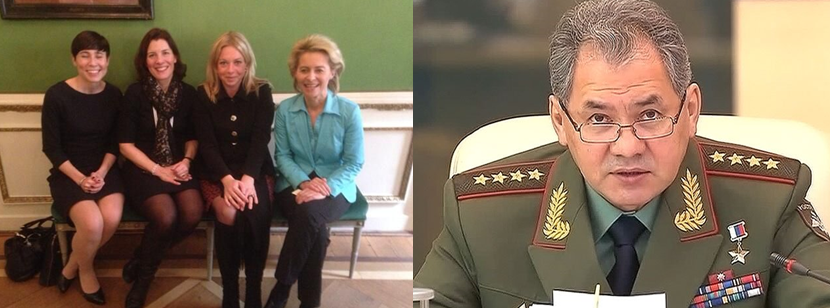 The Defence Ministers of Norway, Sweden, Netherlands and Germany and their Russian opposite number, Sergei Shoigu