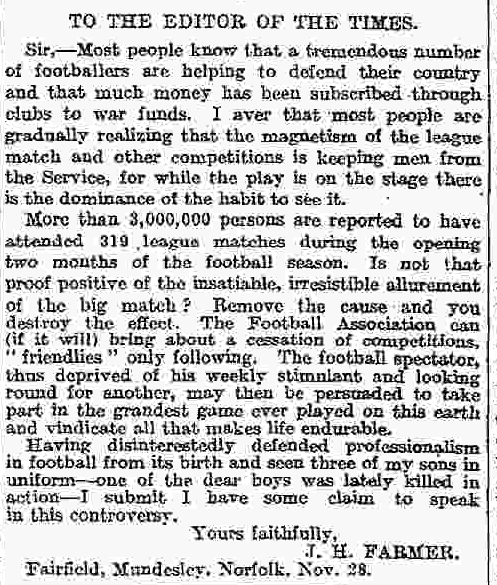 "The letters page also reflected the ""football,"" debate."