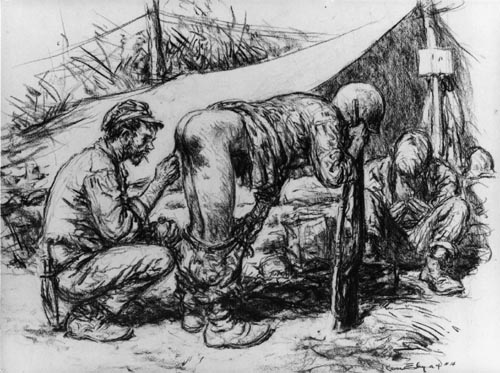 US Marines in Guadalcanal; a medic checks jungle rot, (ringworm)