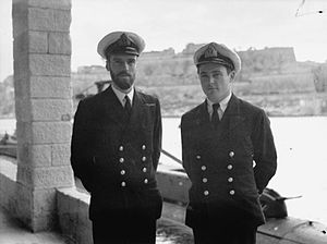 Wanklyn (left) with his First Lieutenant and senior engineer J. R. D Drummond (right), 13 January 1942