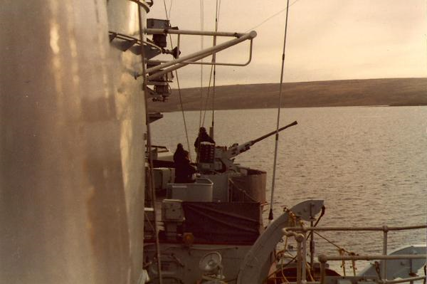 When the first attack came in, the after Seacat launchers, on the hangar roof were damaged together with 3 casualties caused by cannon fire.