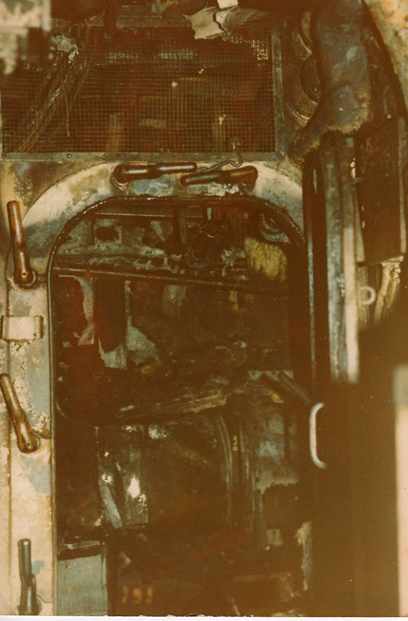 Fan Compartment (above) – one of several compartments gutted by the fire