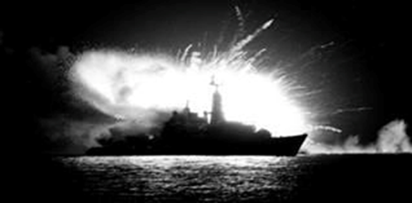 HMS Antelope - UXB detonates setting fire to the ship. Eventually the Seacat magazine explodes in this well-known picture (it's not the bomb, it's the missiles in the magazine exploding), 400 yards from Argonaut (Still with a 1000lb UXB lodged in our Seacat magazine...). Argonaut actually juddered as the explosive pulse rippled through the water