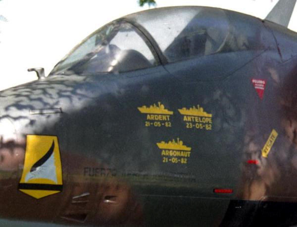 Victory markings on an Argentine Skyhawk for the sinking of 3 British warships during the 1982 Falklands War, the Argonaut, Antelope, and Ardent. Except Argonaut wasn't sunk.