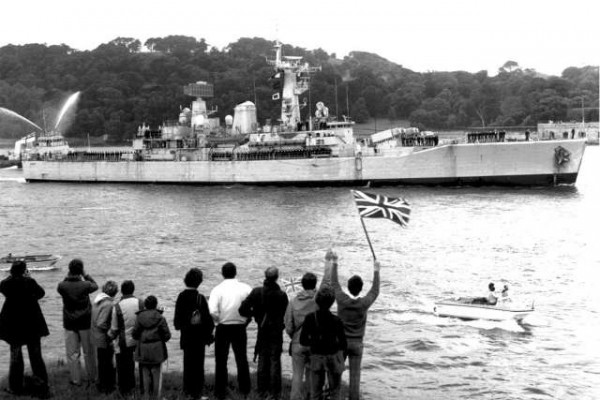 After a long and dangerous voyage, HMS Argonaut arrived back in Devonport for repairs on the 26th June, 1982.